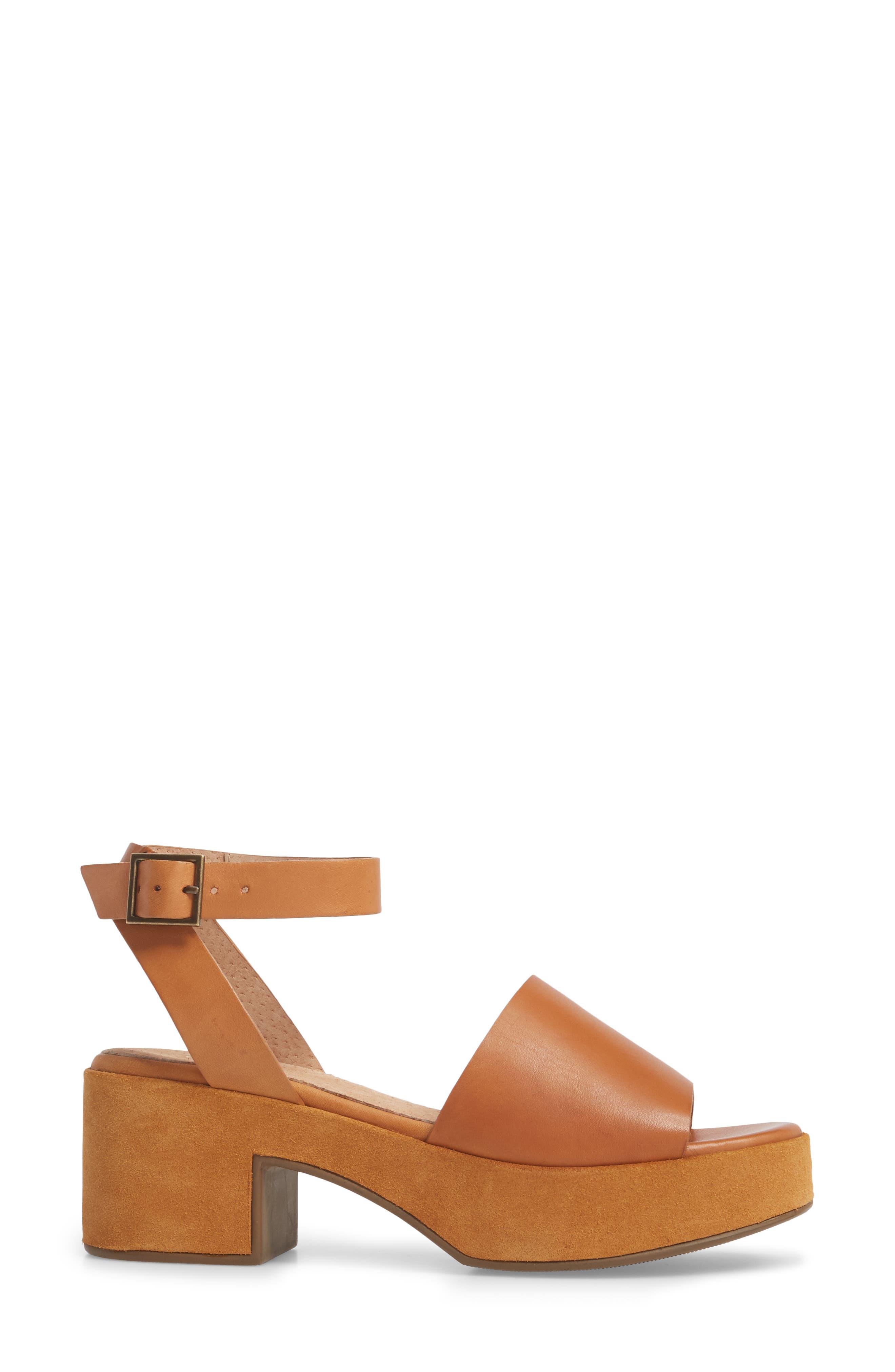 Calming Influence Platform Sandal,                             Alternate thumbnail 3, color,                             Tan Leather