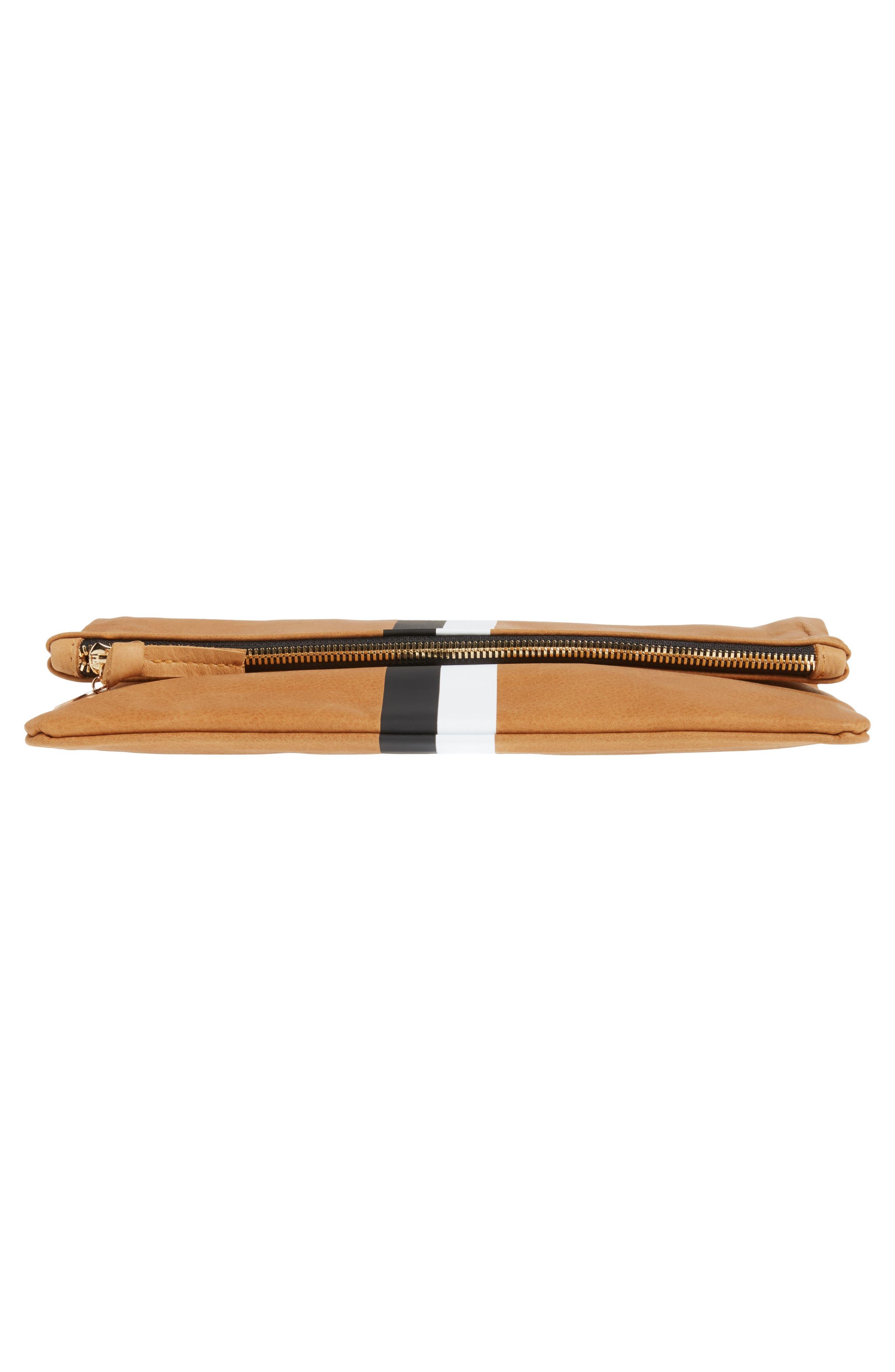 Center Stripe Leather Foldover Clutch,                             Alternate thumbnail 6, color,                             Nubuck Blck Whte Stripe