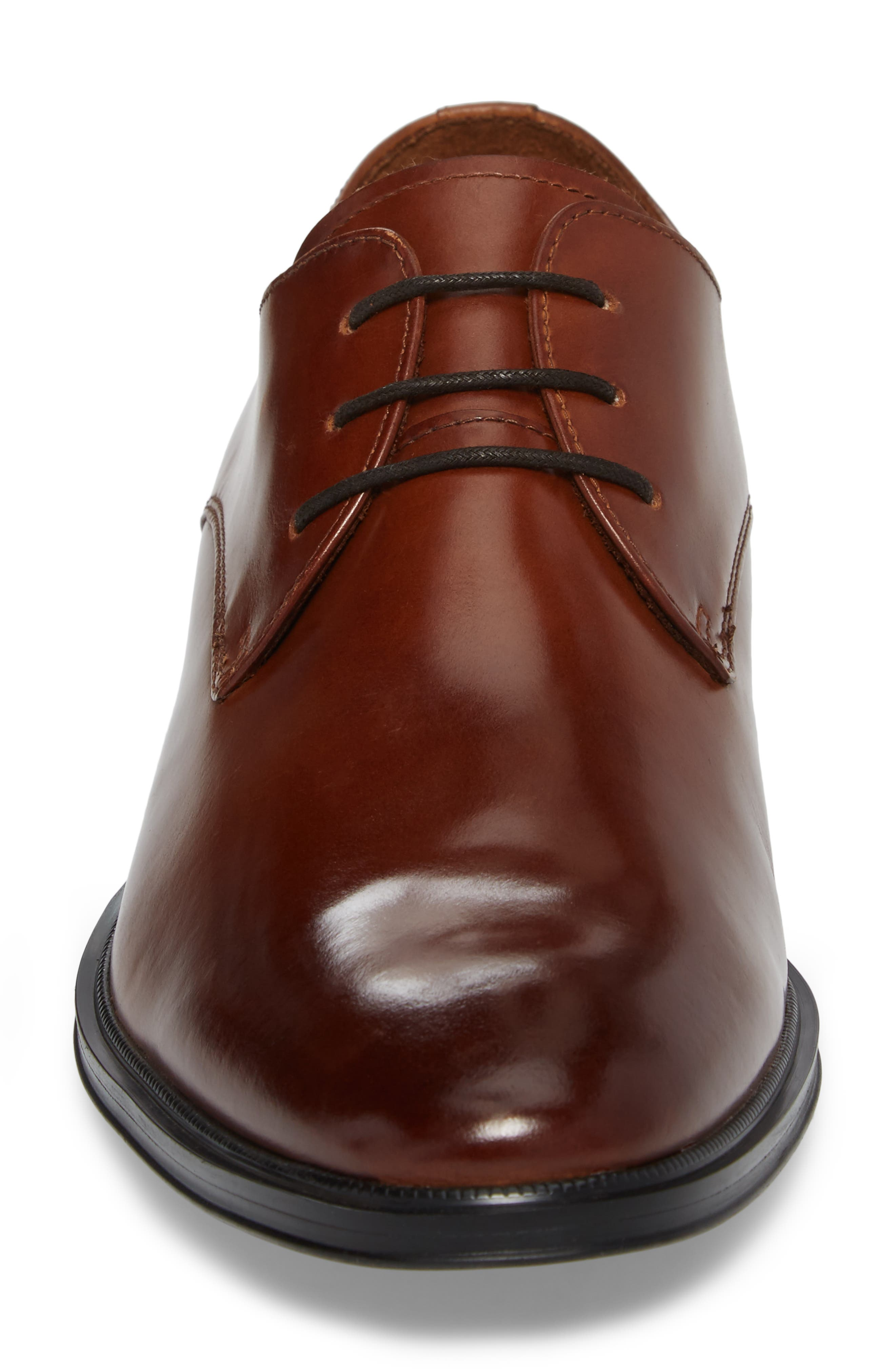 Kenneth Cole Tully Plain Toe Derby,                             Alternate thumbnail 4, color,                             Cognac Leather