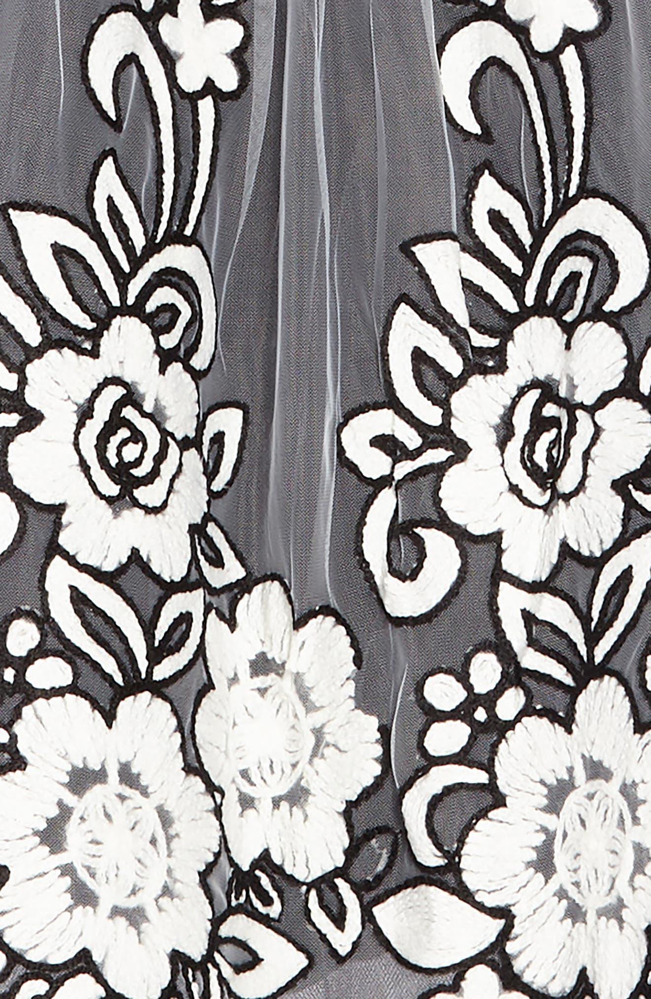 Grace Embroidered Tulle Dress,                             Alternate thumbnail 3, color,                             Black