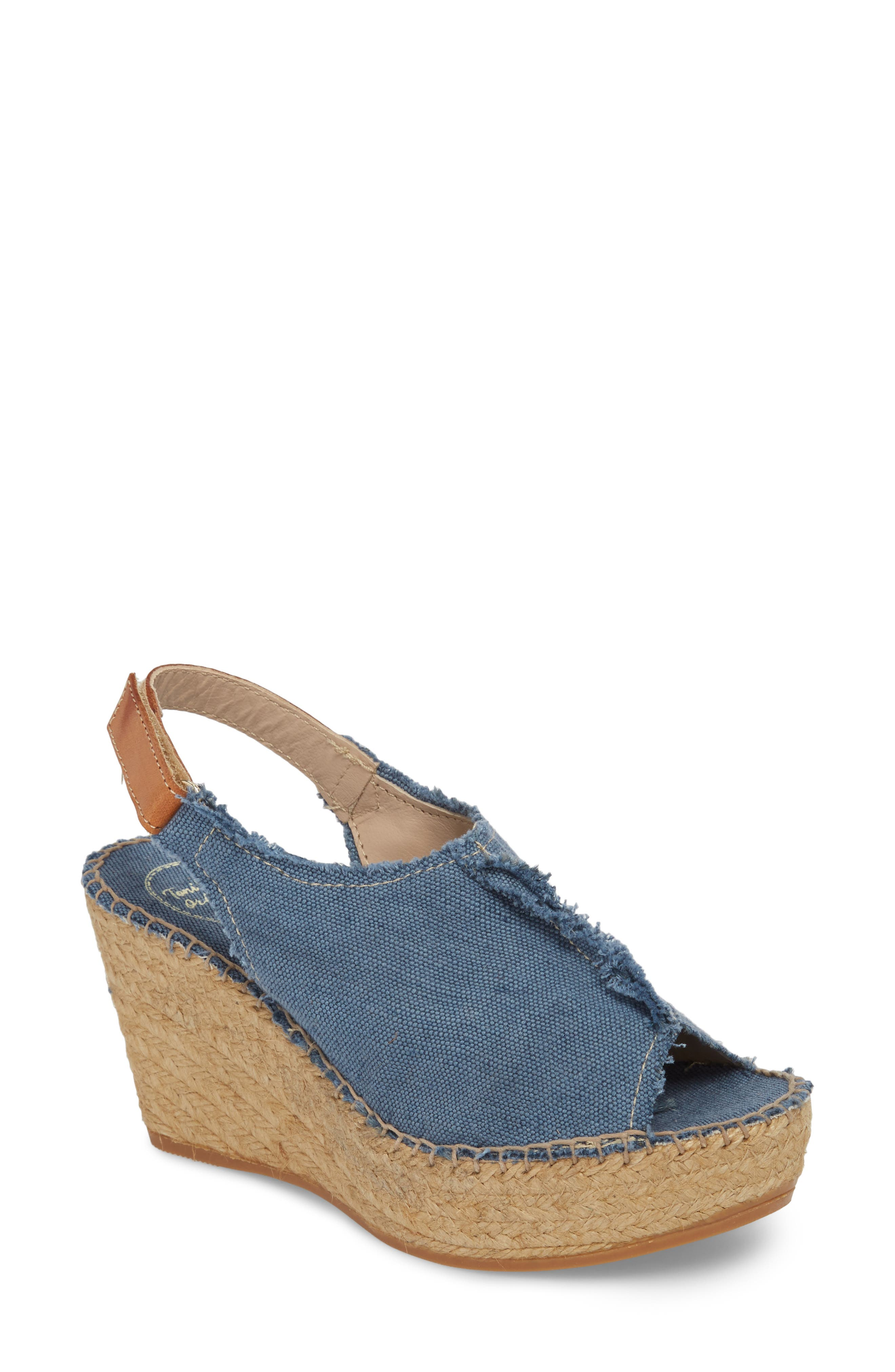 'Lugano' Espadrille Wedge Sandal,                             Main thumbnail 1, color,                             Blue Fabric