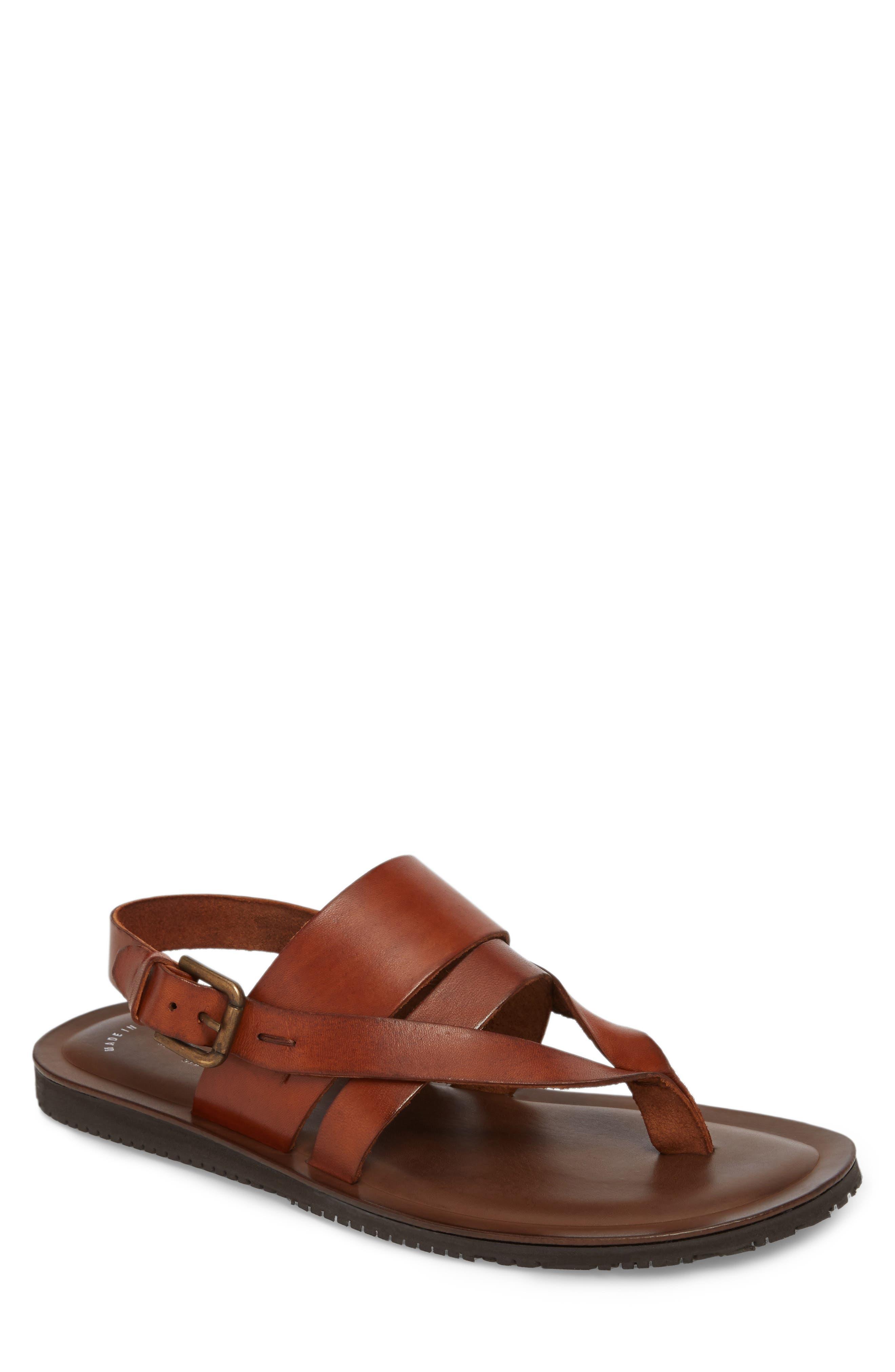 'Reel-Ist' Sandal,                         Main,                         color, Cognac Leather