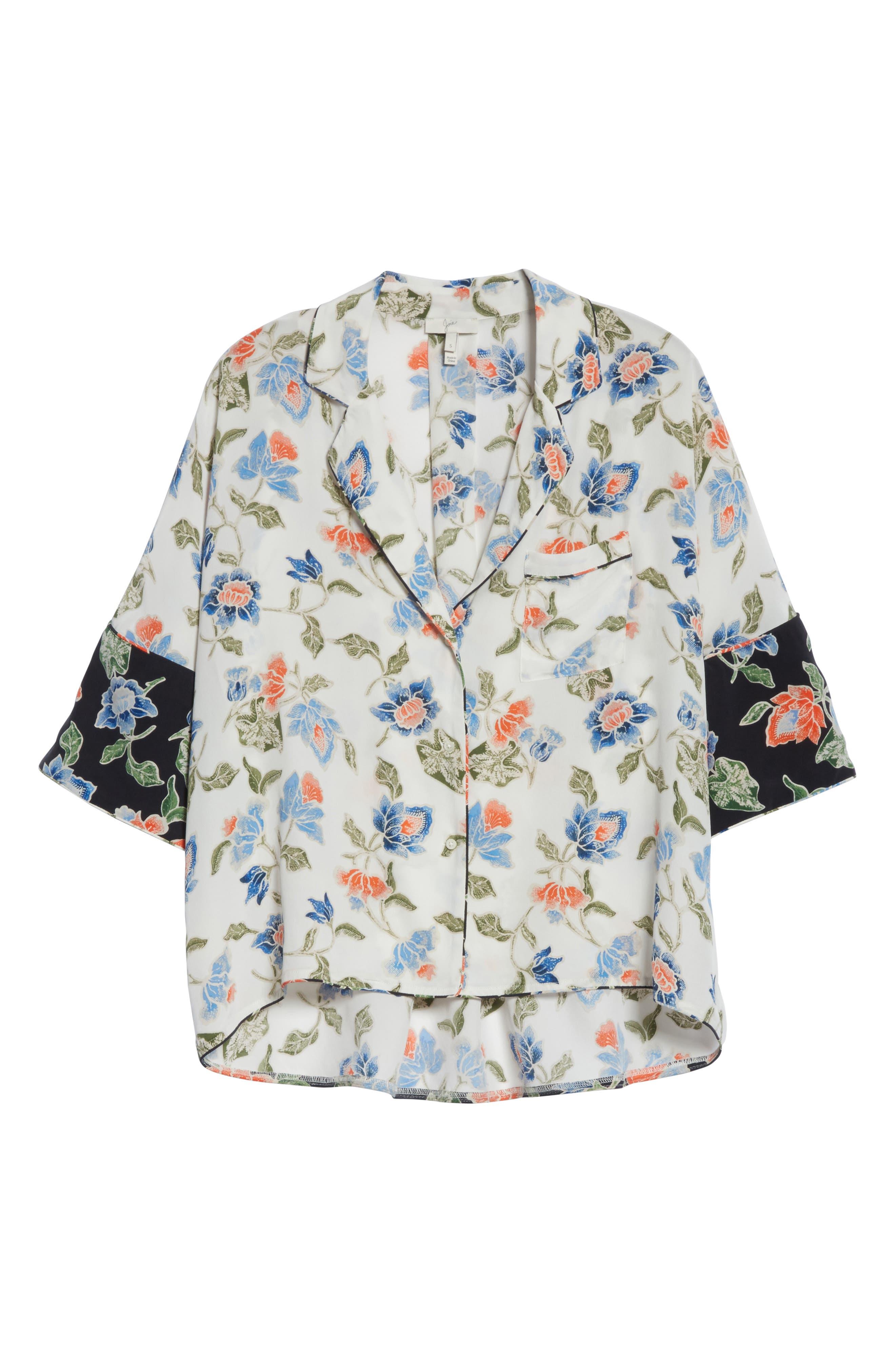 Desmonda Floral Contrast Cuff Silk Blouse,                             Alternate thumbnail 6, color,                             Porcelain