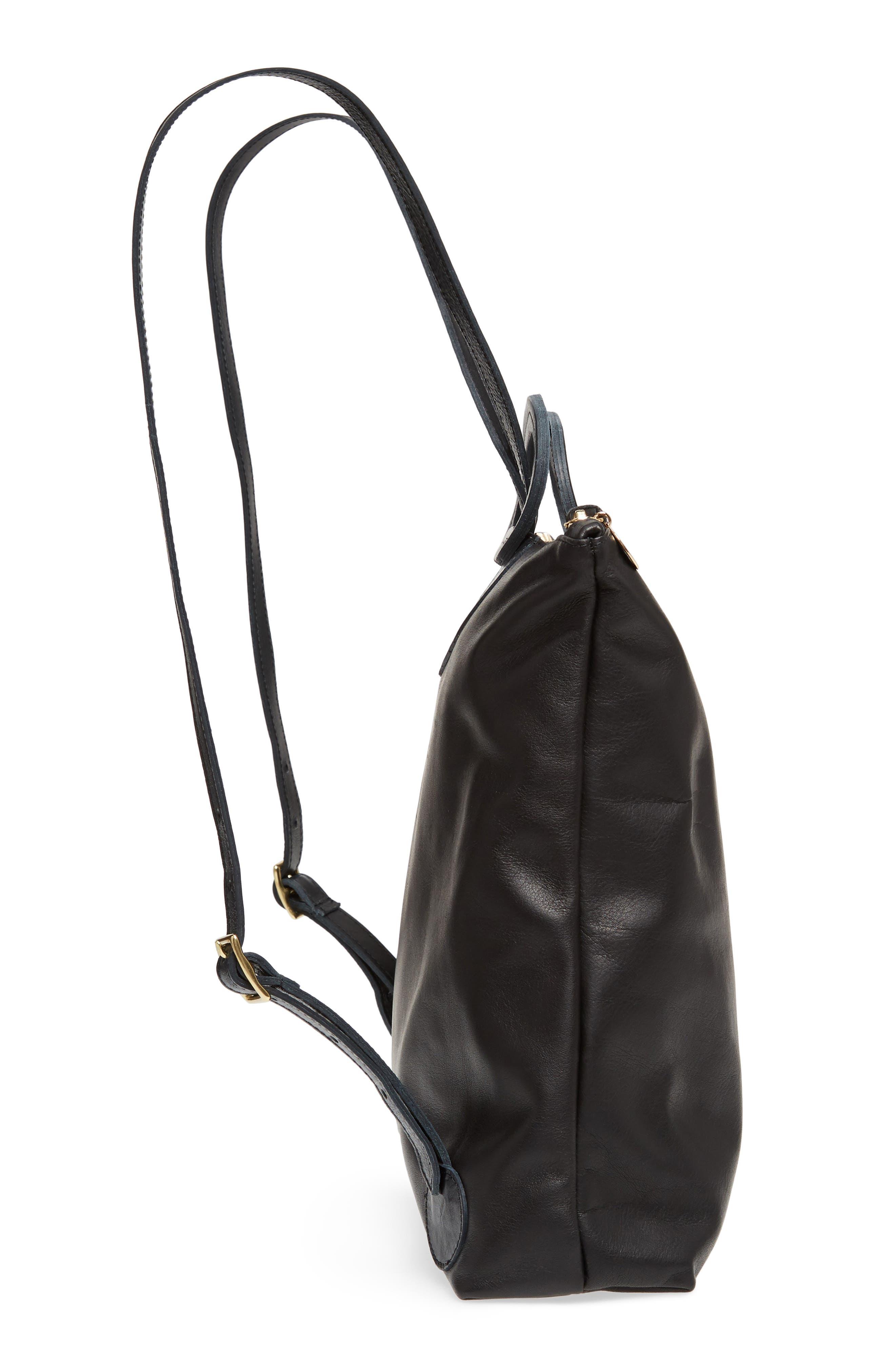 Marcelle Lambskin Leather Backpack,                             Alternate thumbnail 4, color,                             Black