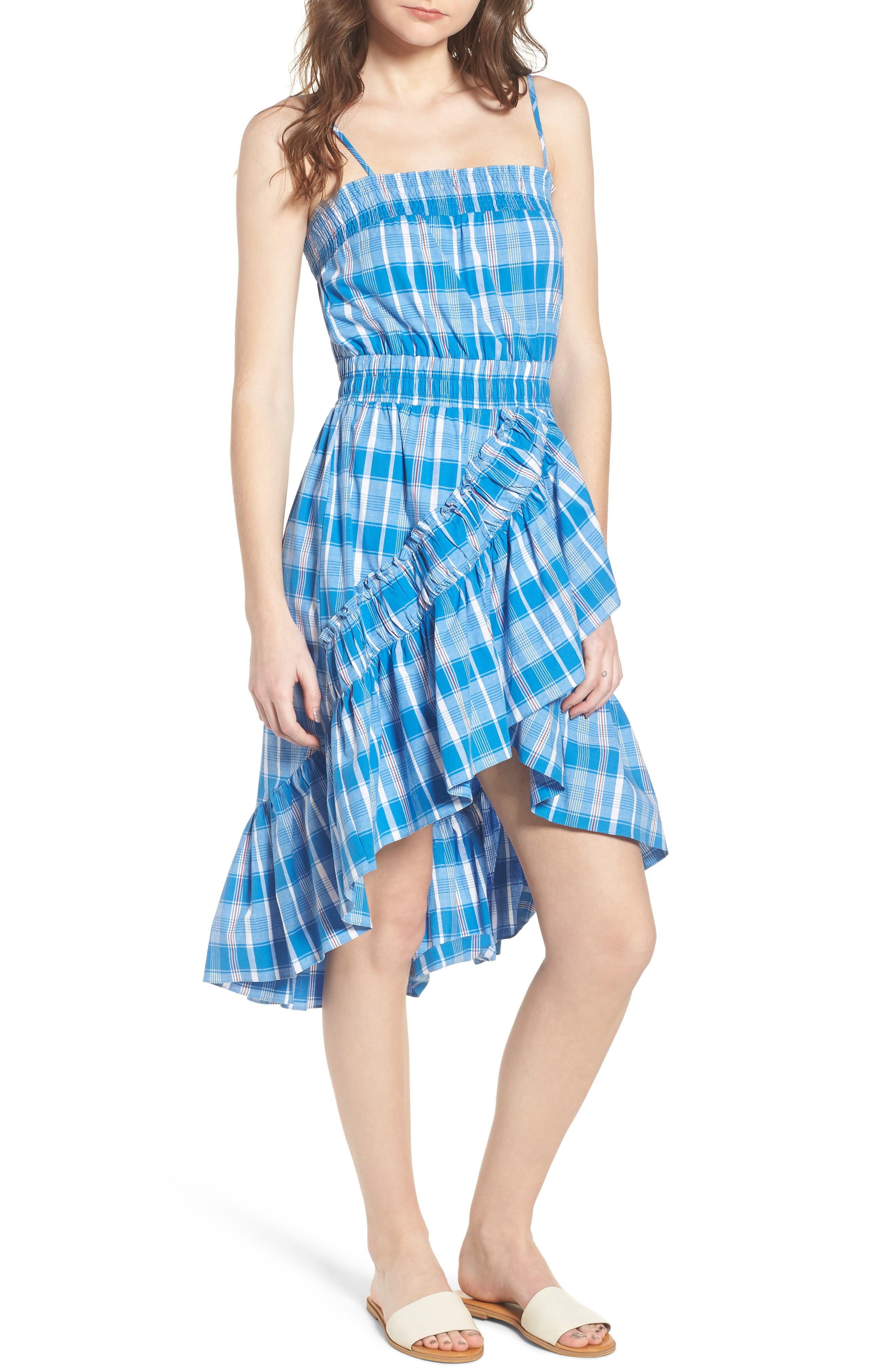 Fernanda High/Low Dress,                             Main thumbnail 1, color,                             Blue Fe1