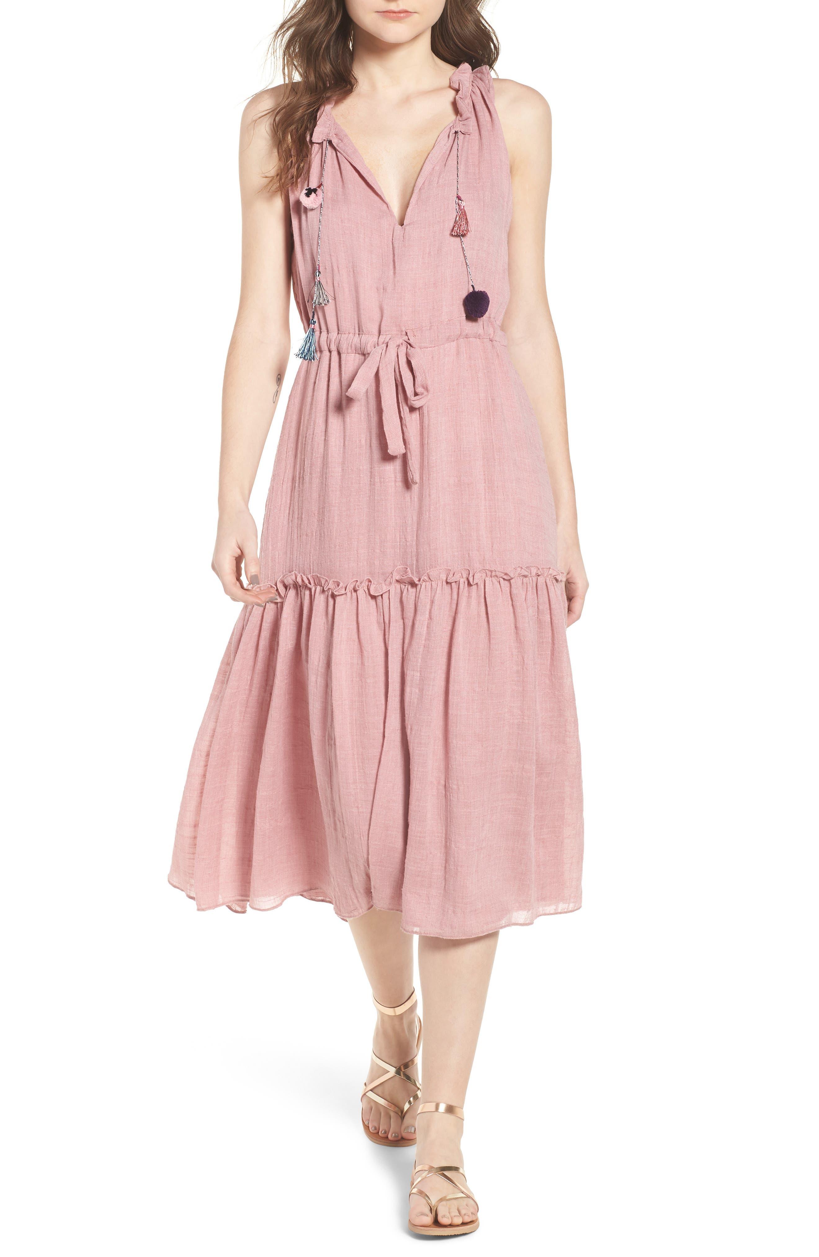 Nicolleta Tie Waist Midi Dress,                             Main thumbnail 1, color,                             Dusty Pink