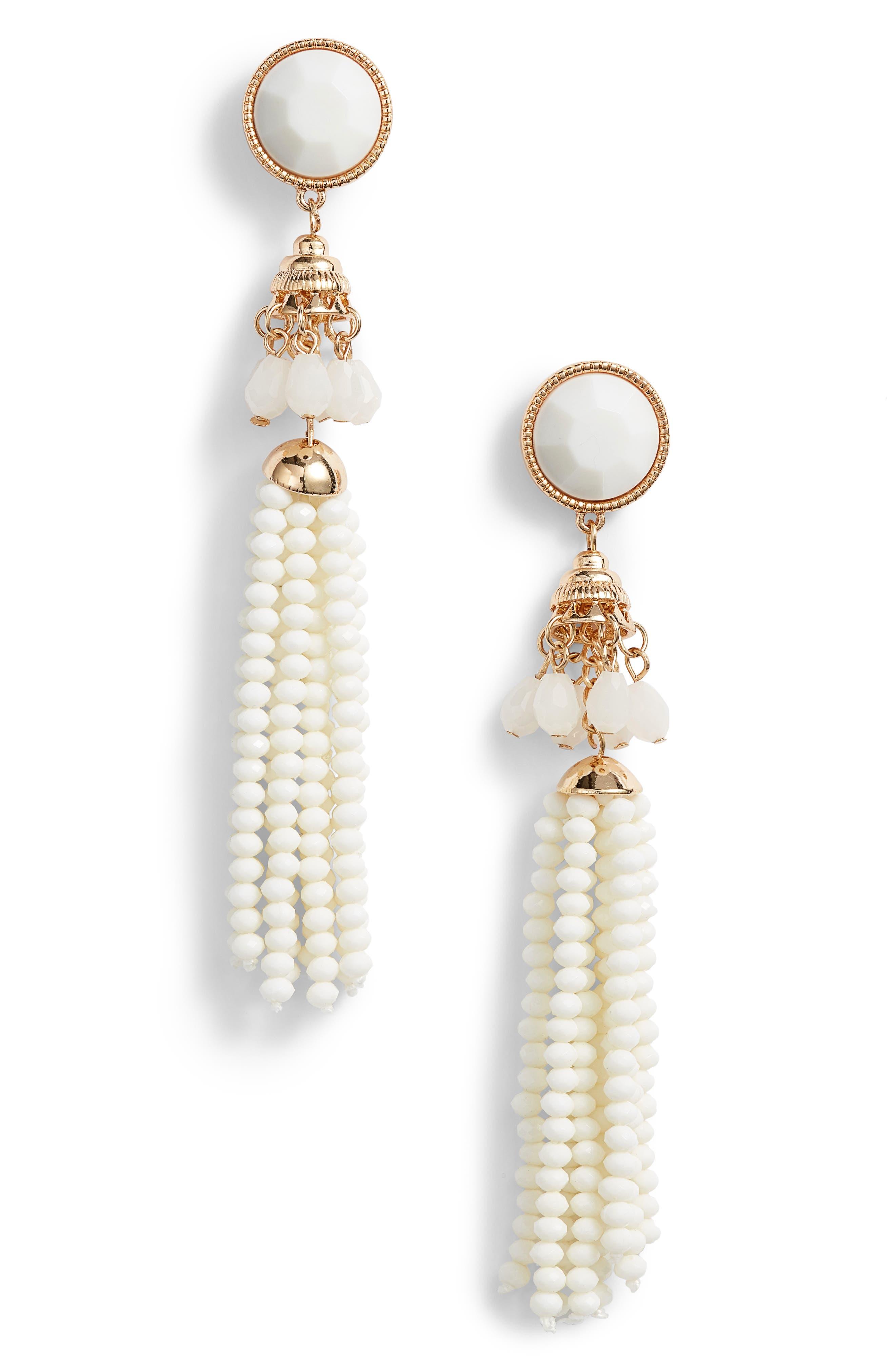 Beaded Tassel Earrings,                         Main,                         color, Gold/ Cream