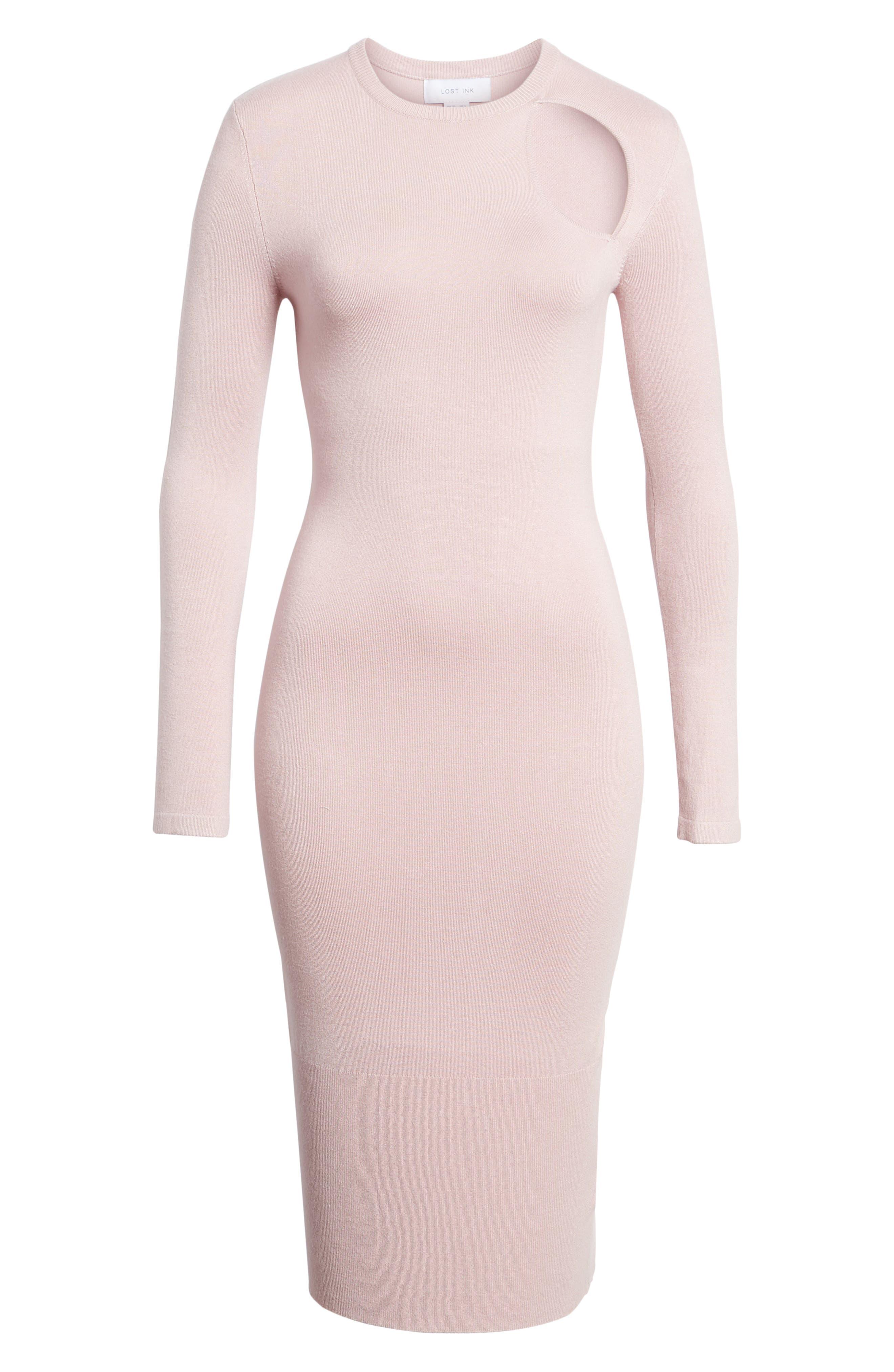 Body-Con Midi Dress,                             Alternate thumbnail 6, color,                             Light Pink