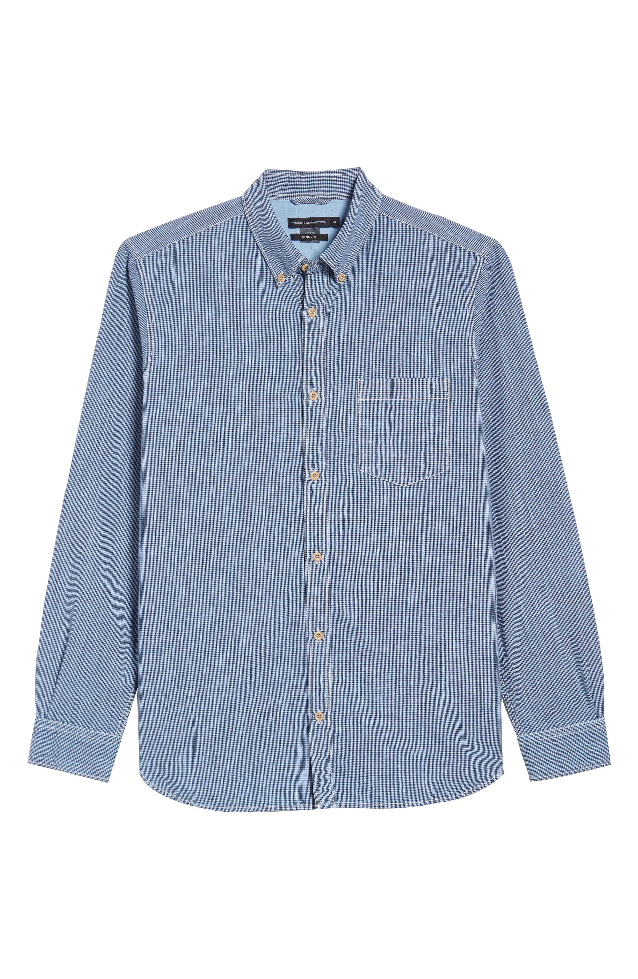 Alternate Image 6  - French Connection Slim Fit Check Cotton & Linen Sport Shirt