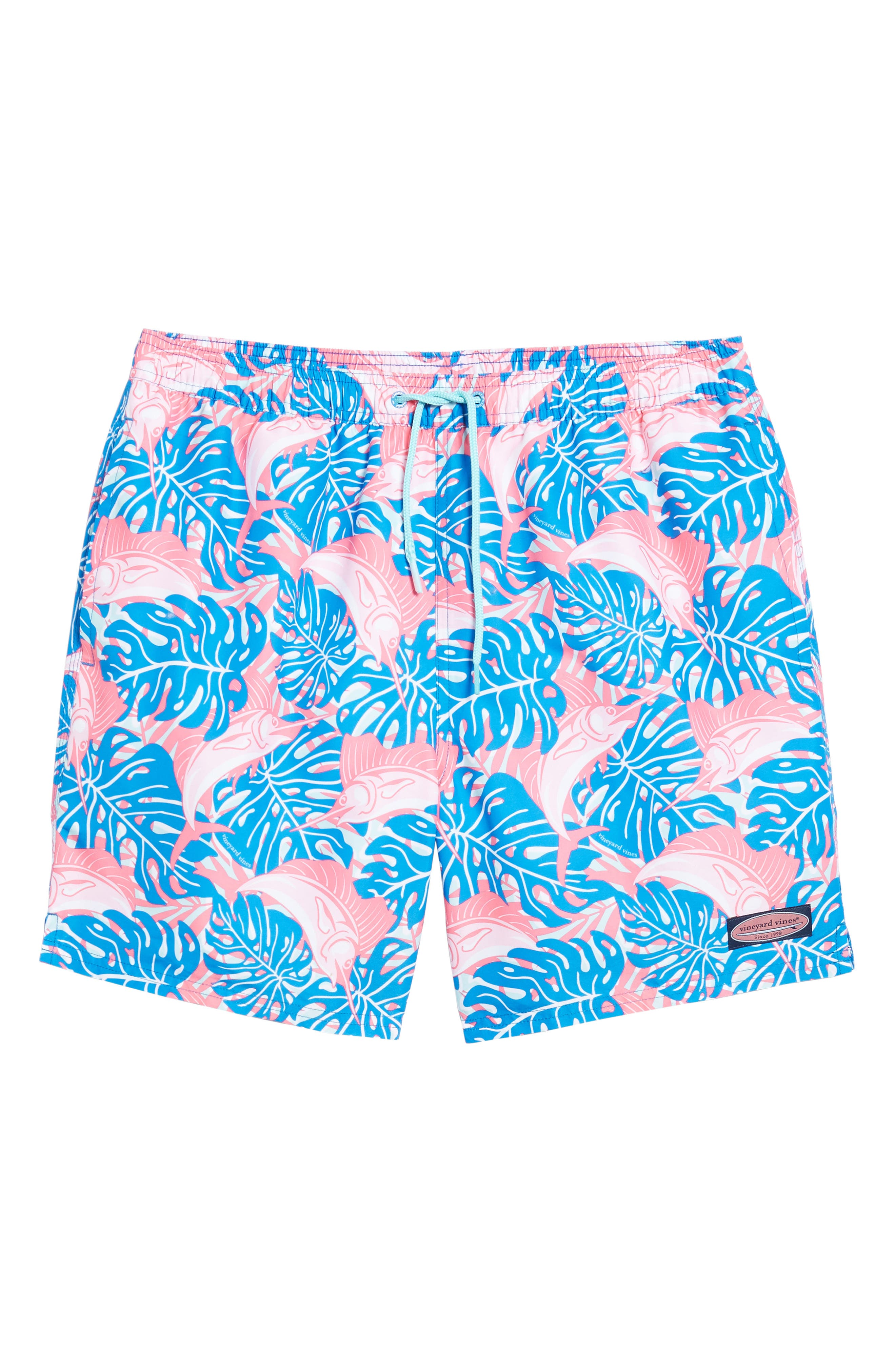 Sailfish & Leaves Chappy Swim Trunks,                             Alternate thumbnail 6, color,                             Azure Blue
