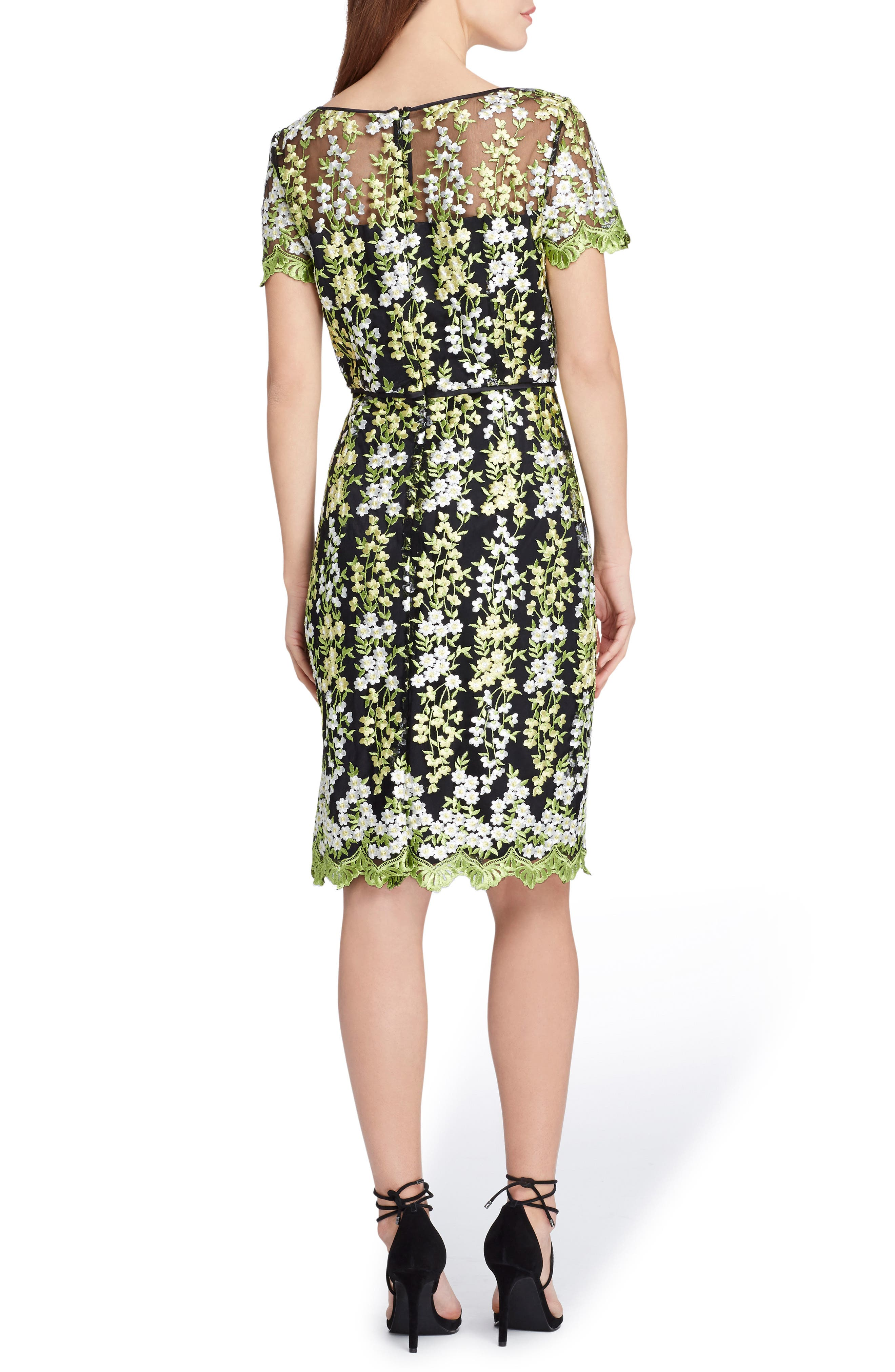 Floral Embroidery Sheath Dress,                             Alternate thumbnail 2, color,                             Black/ Lemon/ Green