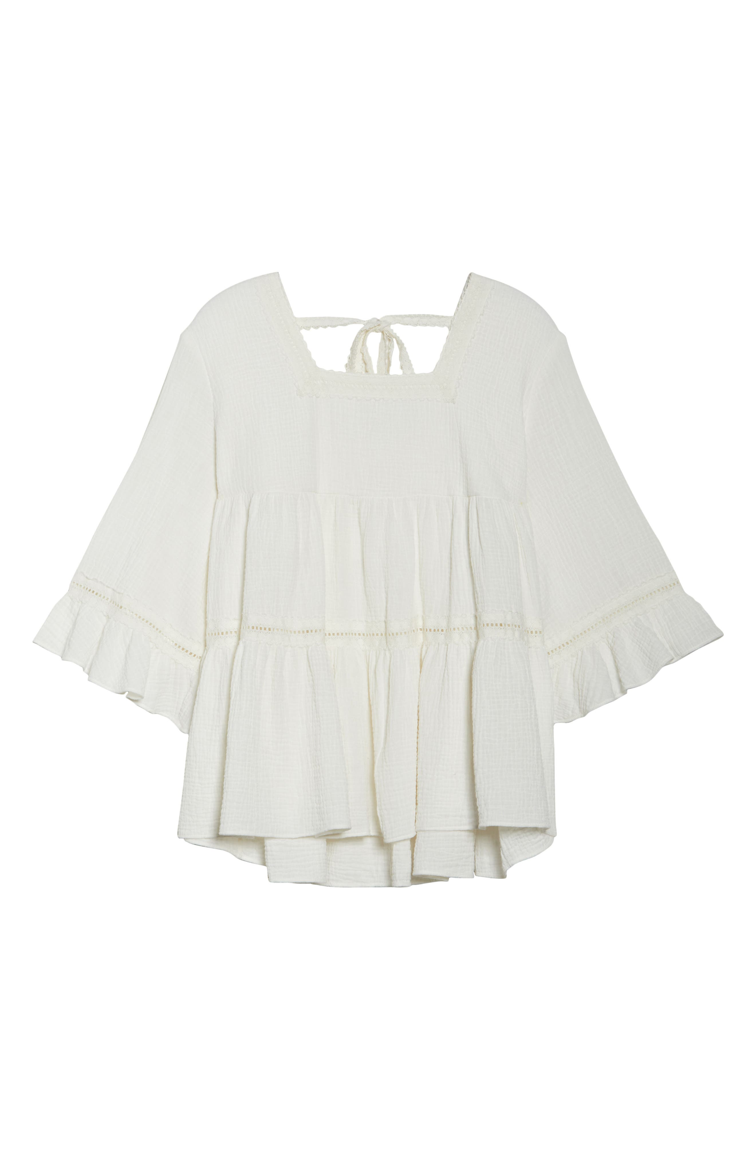 Lace Trim Gathered Top,                             Alternate thumbnail 7, color,                             Ivory Cloud