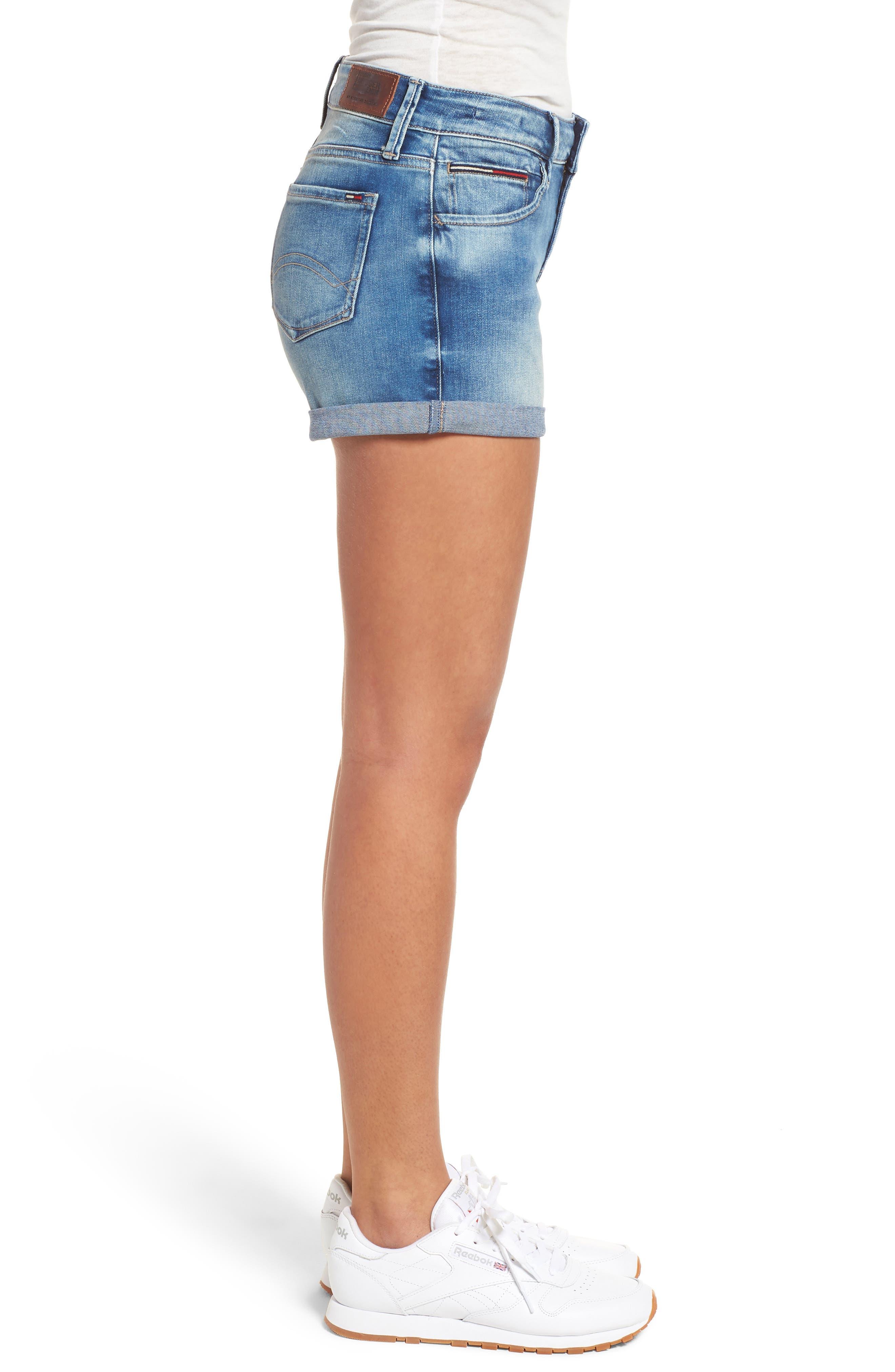 Cuffed Denim Shorts,                             Alternate thumbnail 3, color,                             Florida Light Blue Stretch