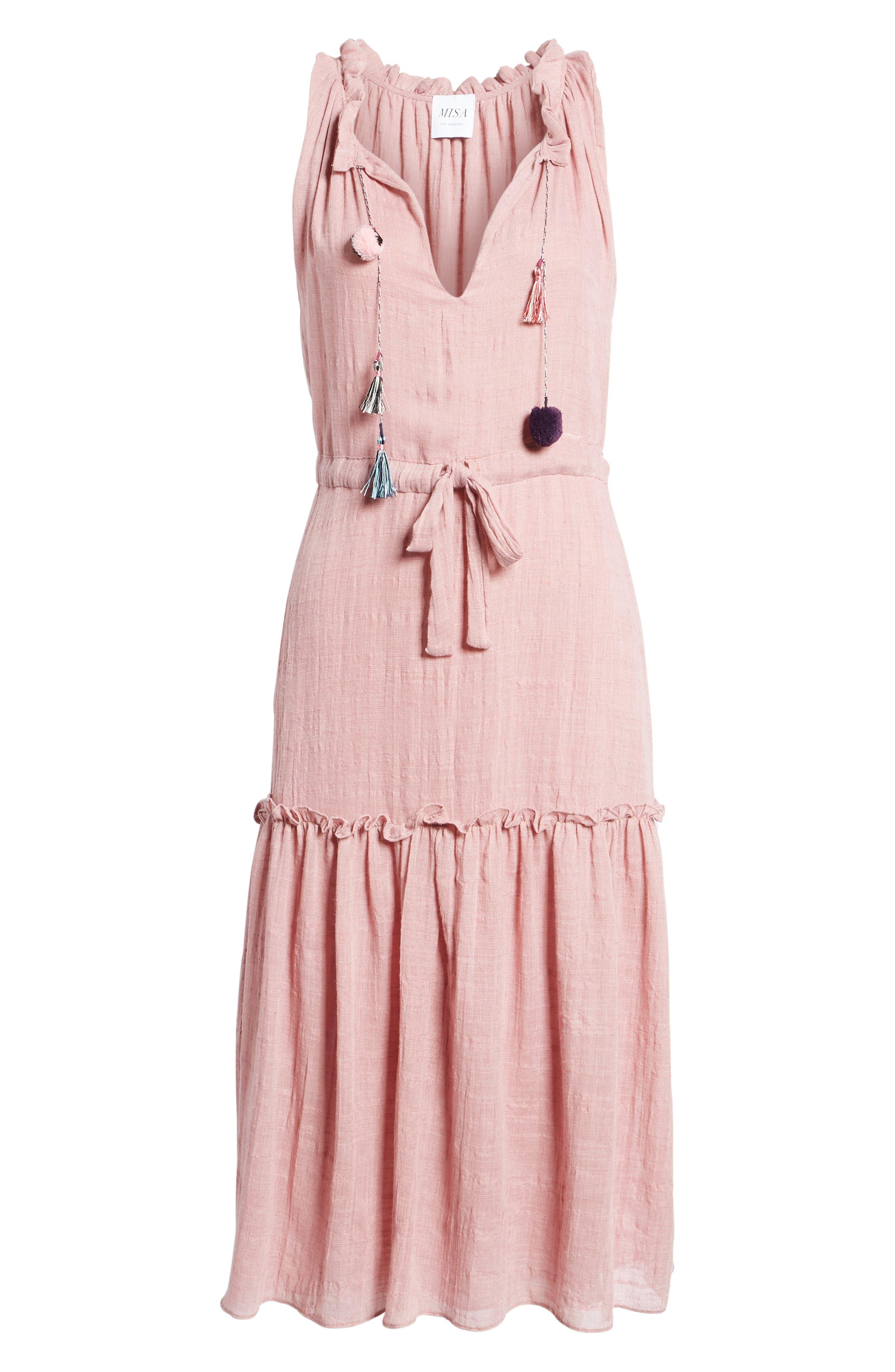 Nicolleta Tie Waist Midi Dress,                             Alternate thumbnail 6, color,                             Dusty Pink