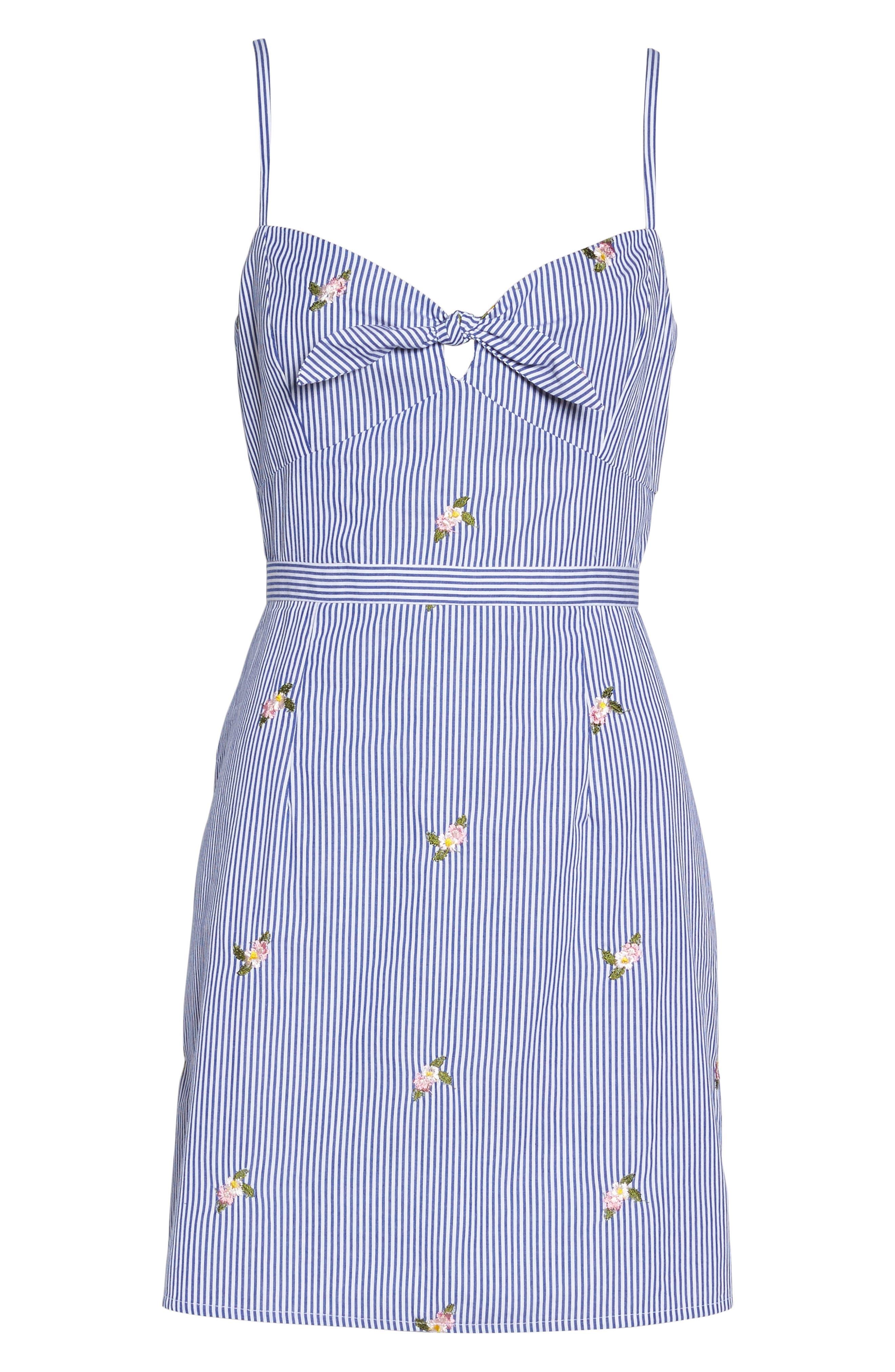 Stripe Bow Front Sundress,                             Alternate thumbnail 7, color,                             Blue/ White