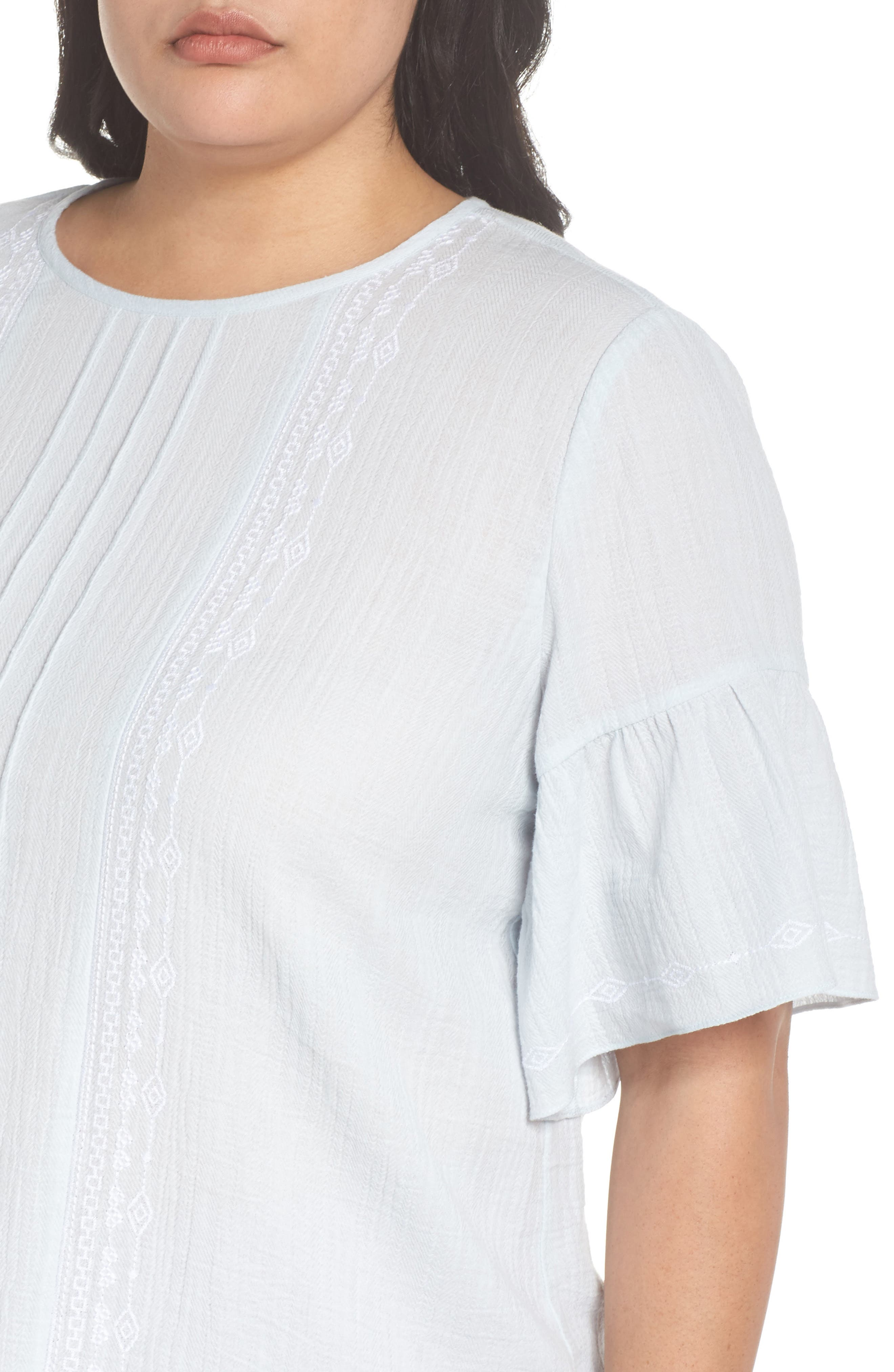 Ruffle Sleeve Embroidered Crinkle Cotton Top,                             Alternate thumbnail 4, color,                             Chalk Blue