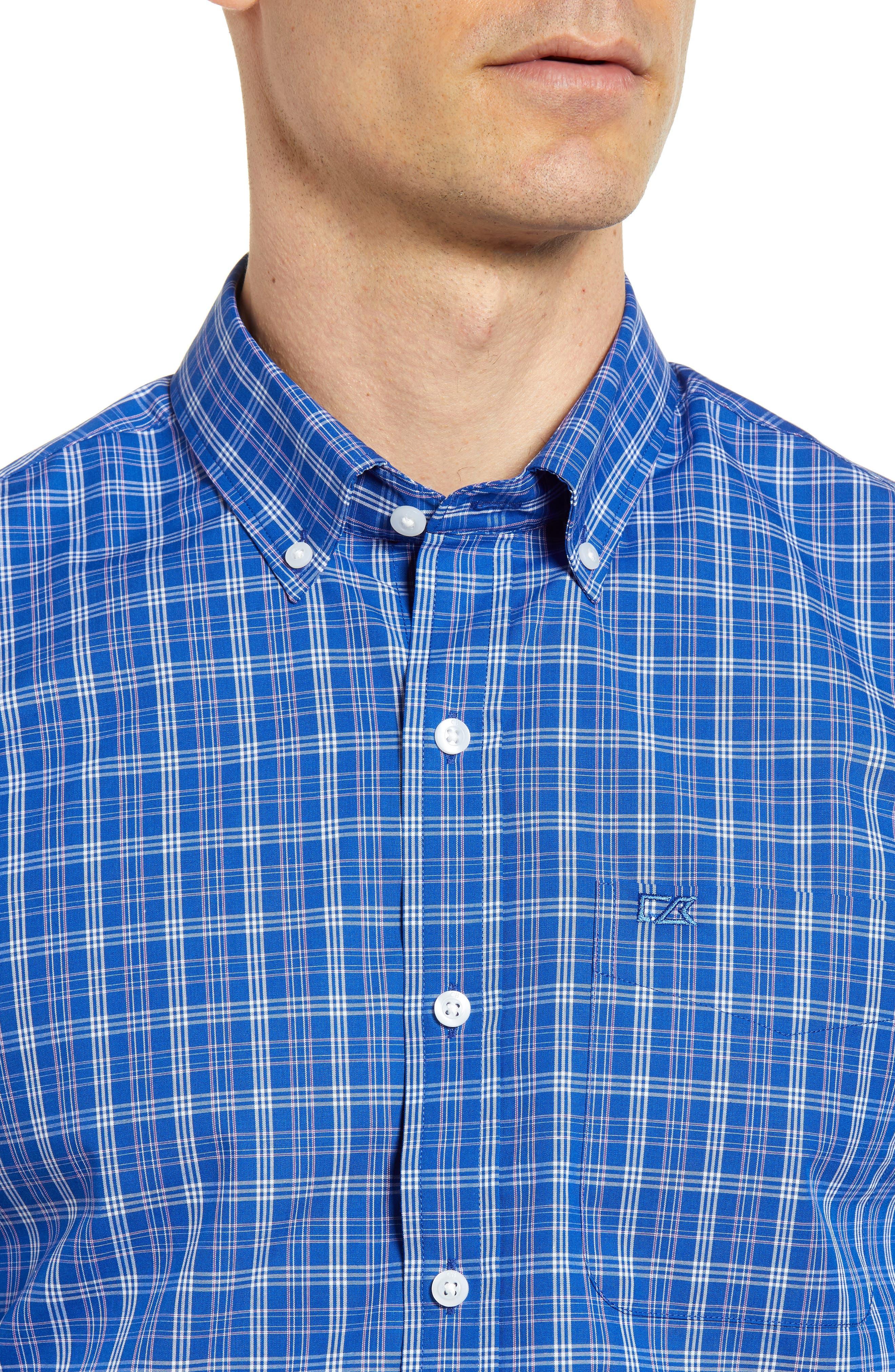 Leo Plaid Easy Care Woven Shirt,                             Alternate thumbnail 4, color,                             Bolt