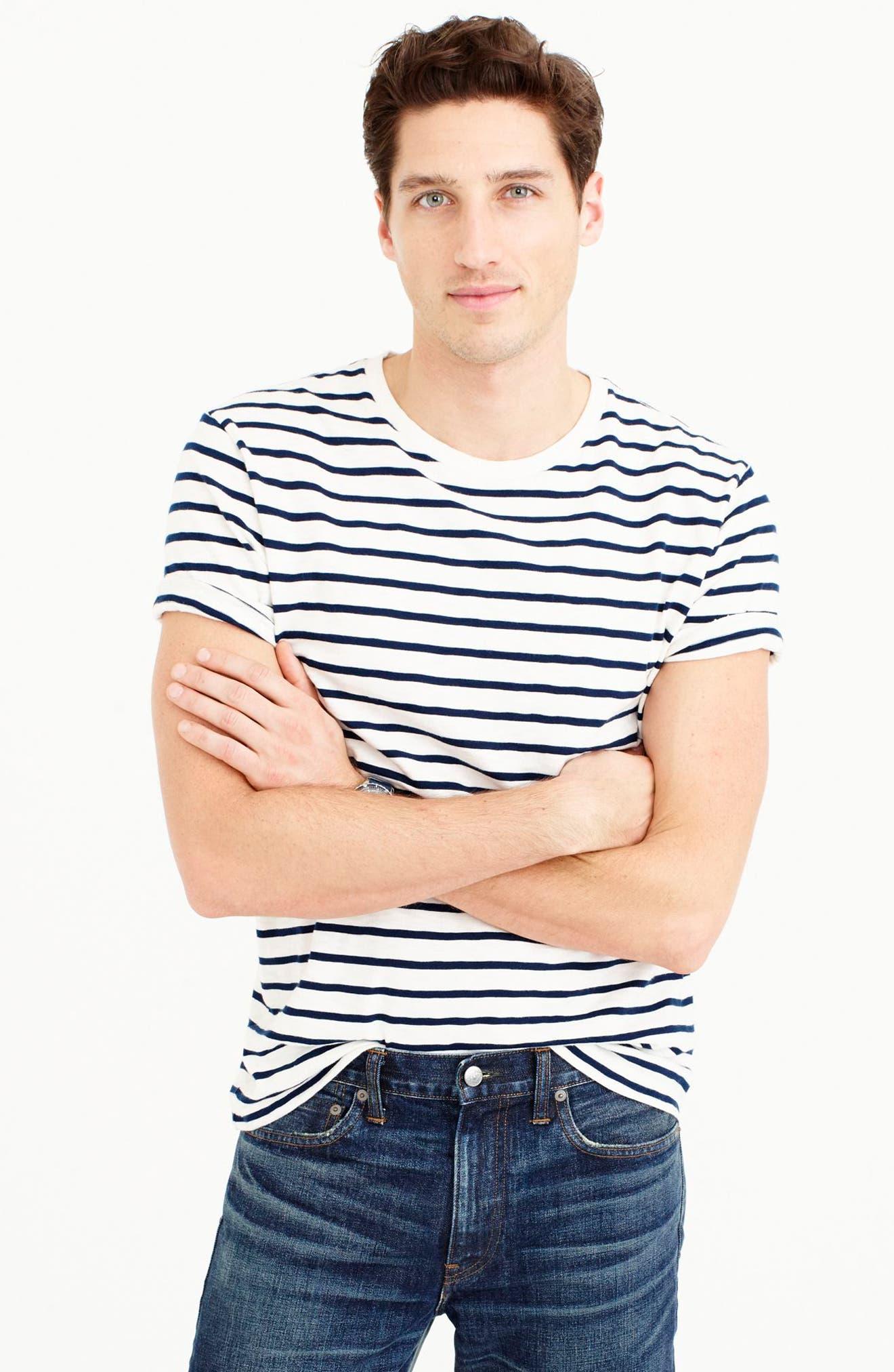 Deck Stripe Slub Cotton T-Shirt,                             Alternate thumbnail 6, color,                             Mountain White