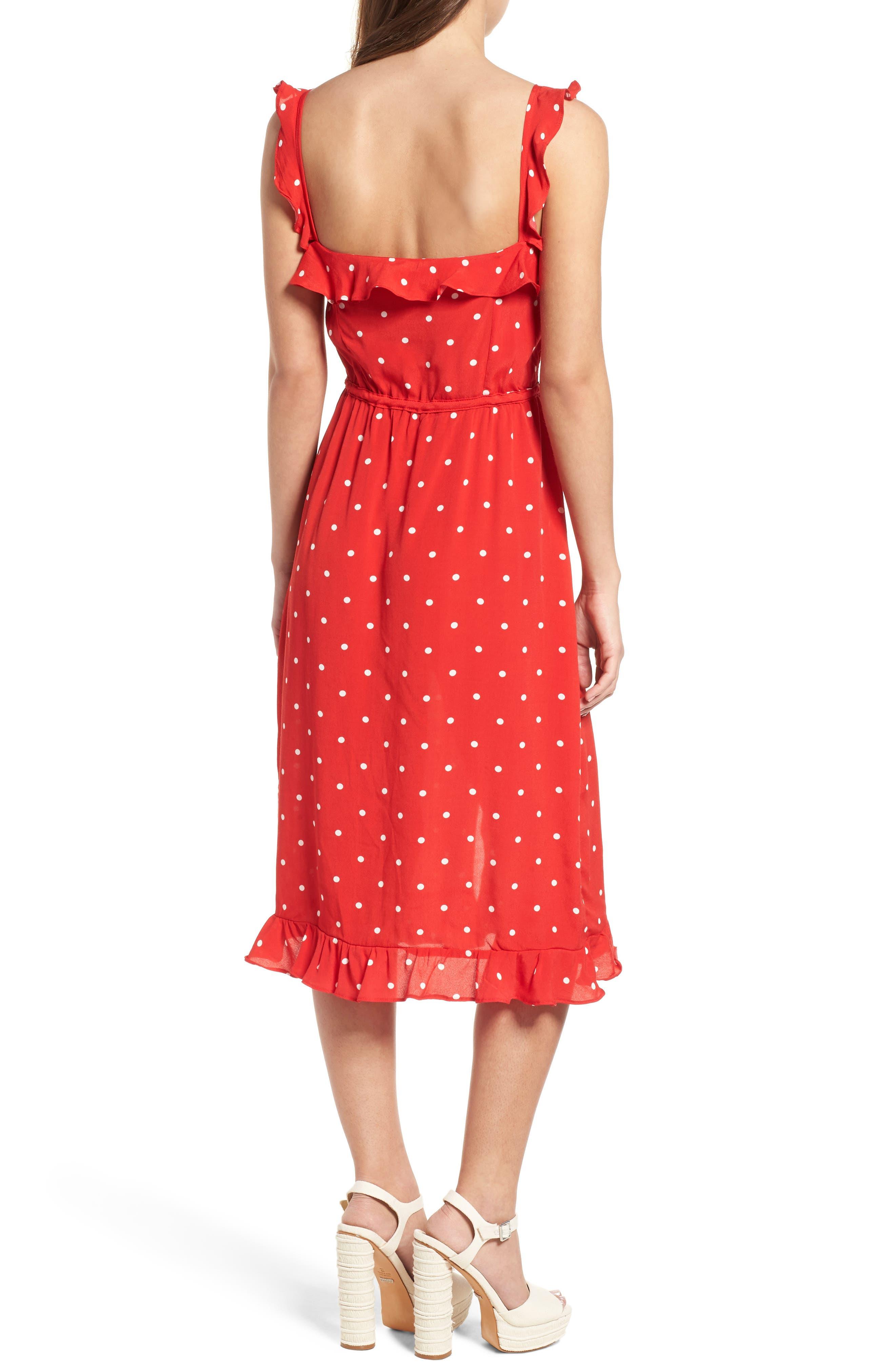 Natalia Midi Dress,                             Alternate thumbnail 2, color,                             Red Dot