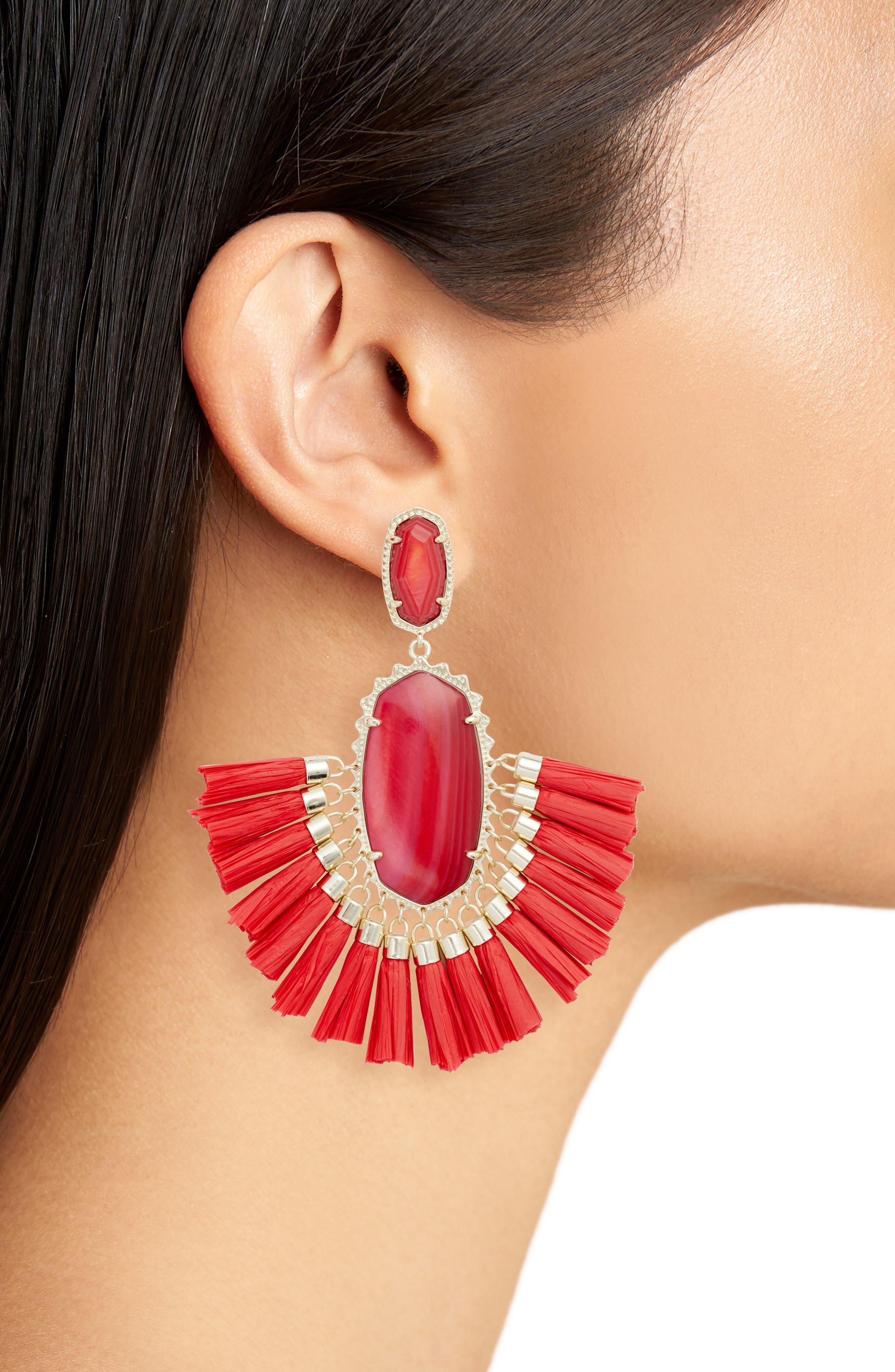 Cristina Stone Tassel Earrings,                             Alternate thumbnail 2, color,                             Red Mop/ Gold