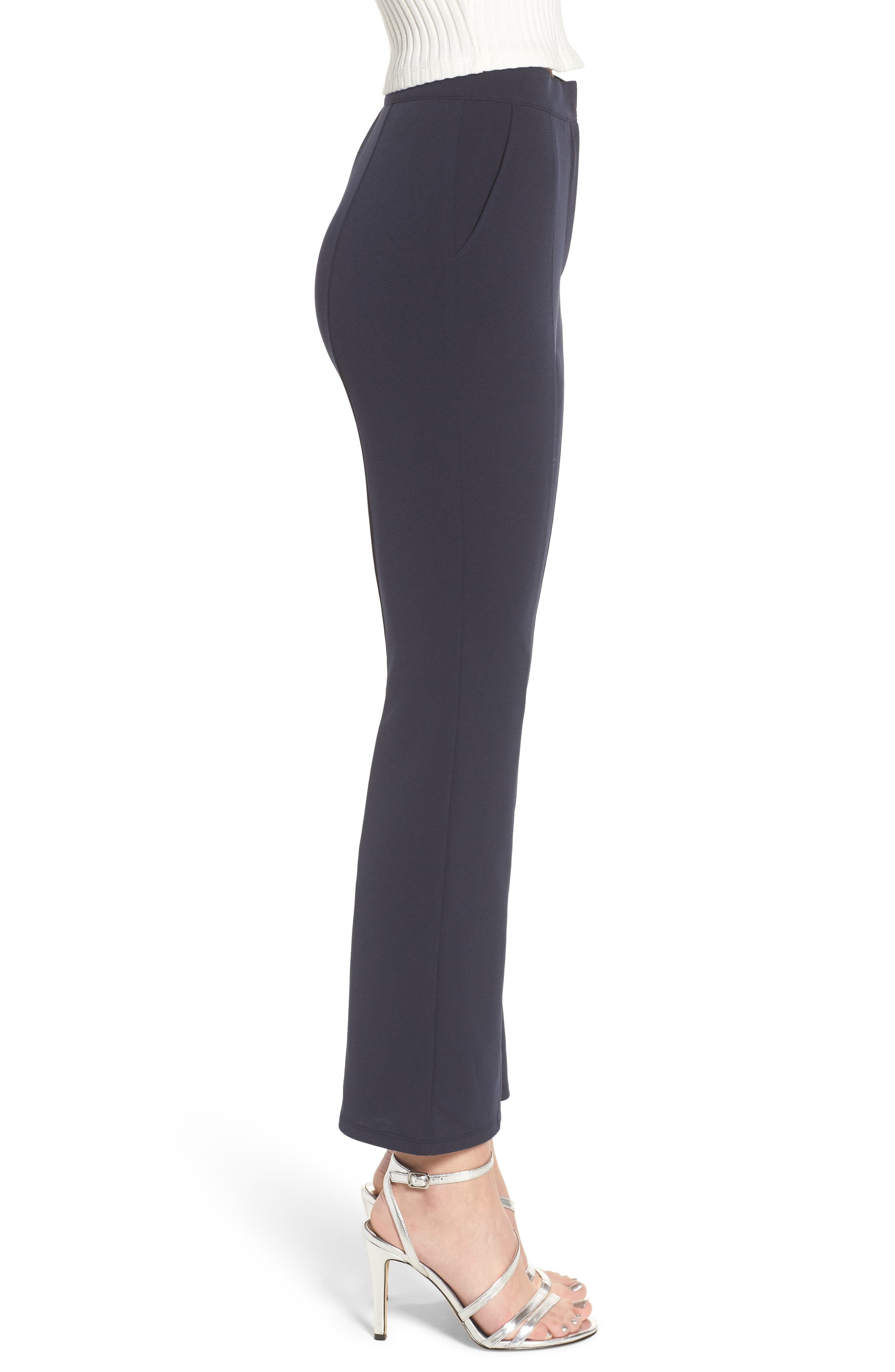 High Waist Crop Flare Pants,                             Alternate thumbnail 4, color,                             Navy Evening