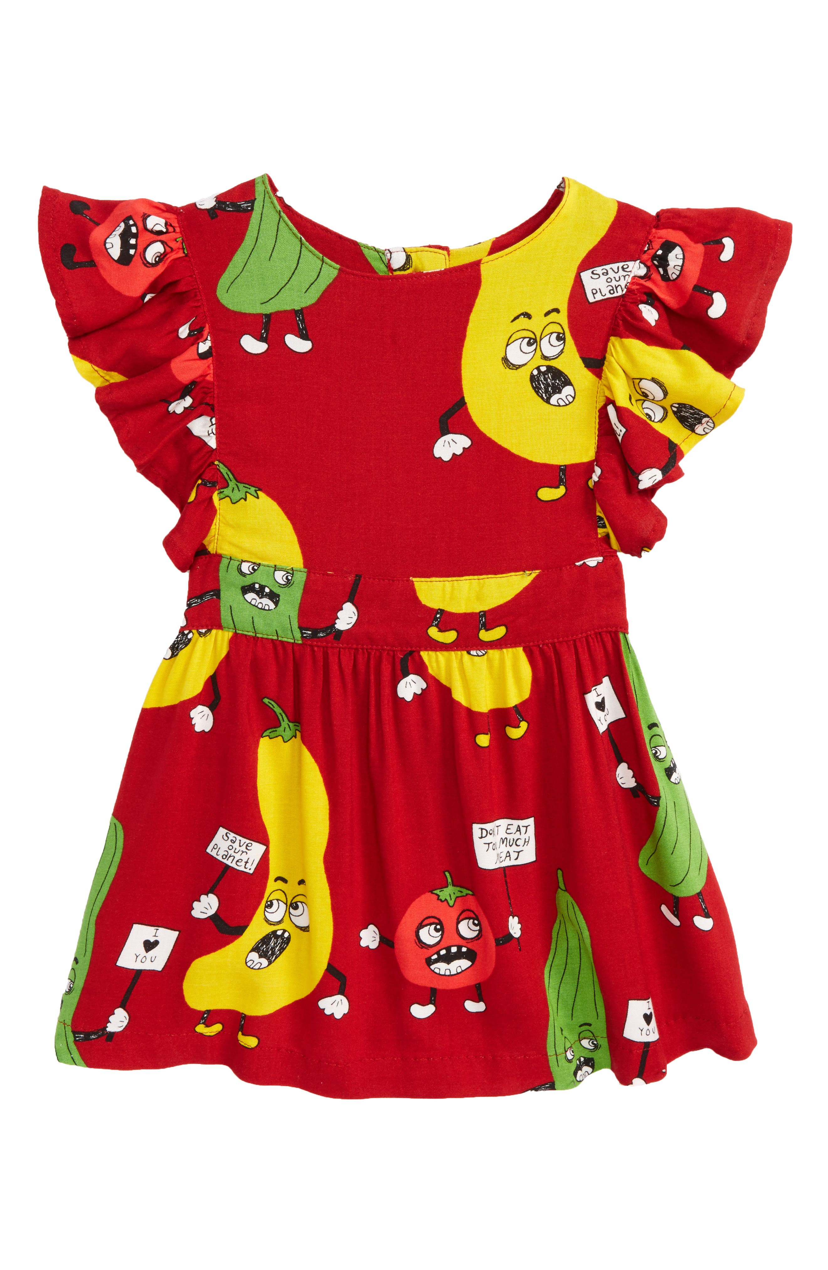 Veggie Ruffle Dress,                         Main,                         color, Red
