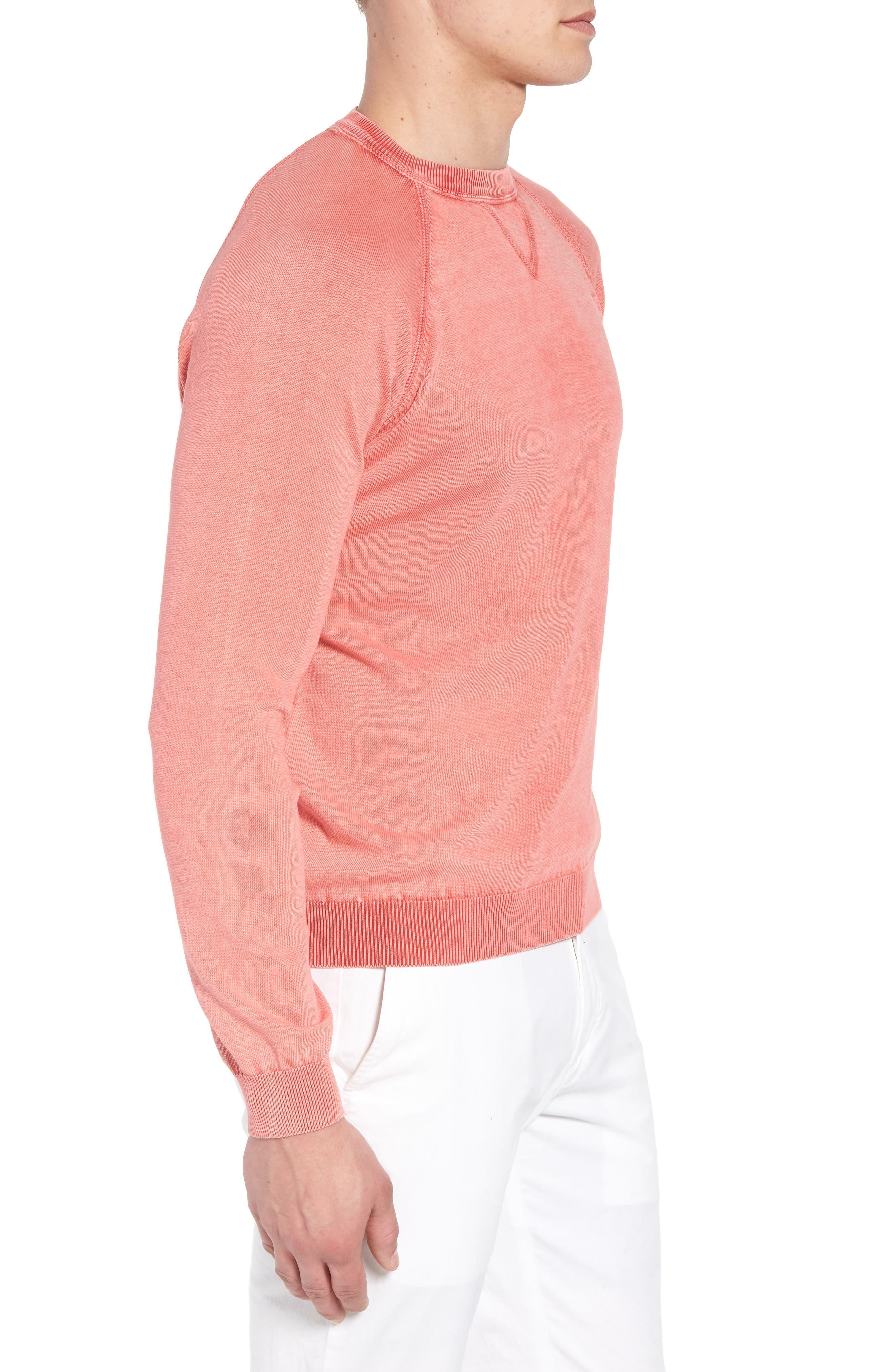 Stonewash Cotton Sweatshirt,                             Alternate thumbnail 3, color,                             Washed Coral
