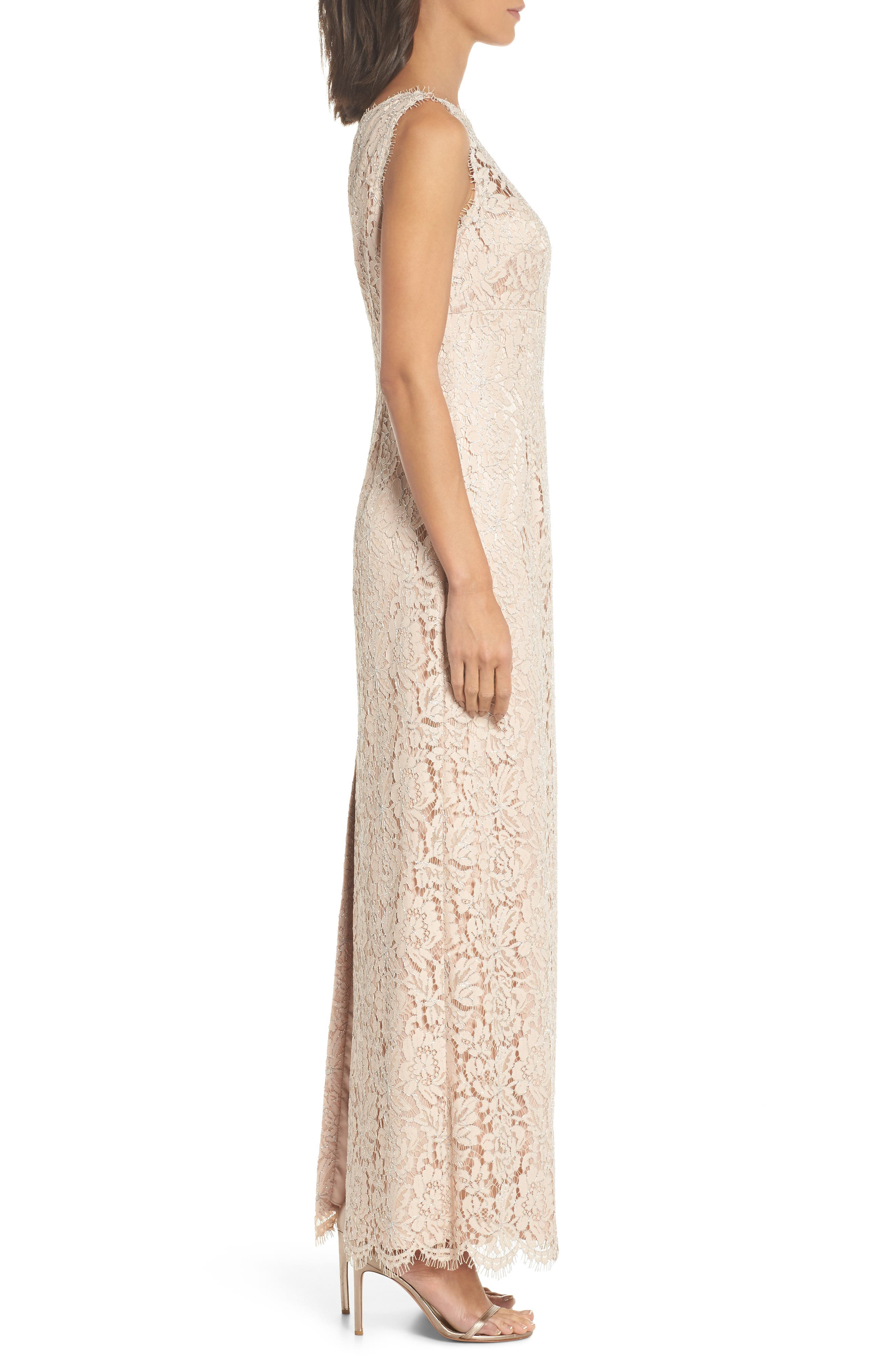 One-Shoulder Lace Gown,                             Alternate thumbnail 3, color,                             Champagne