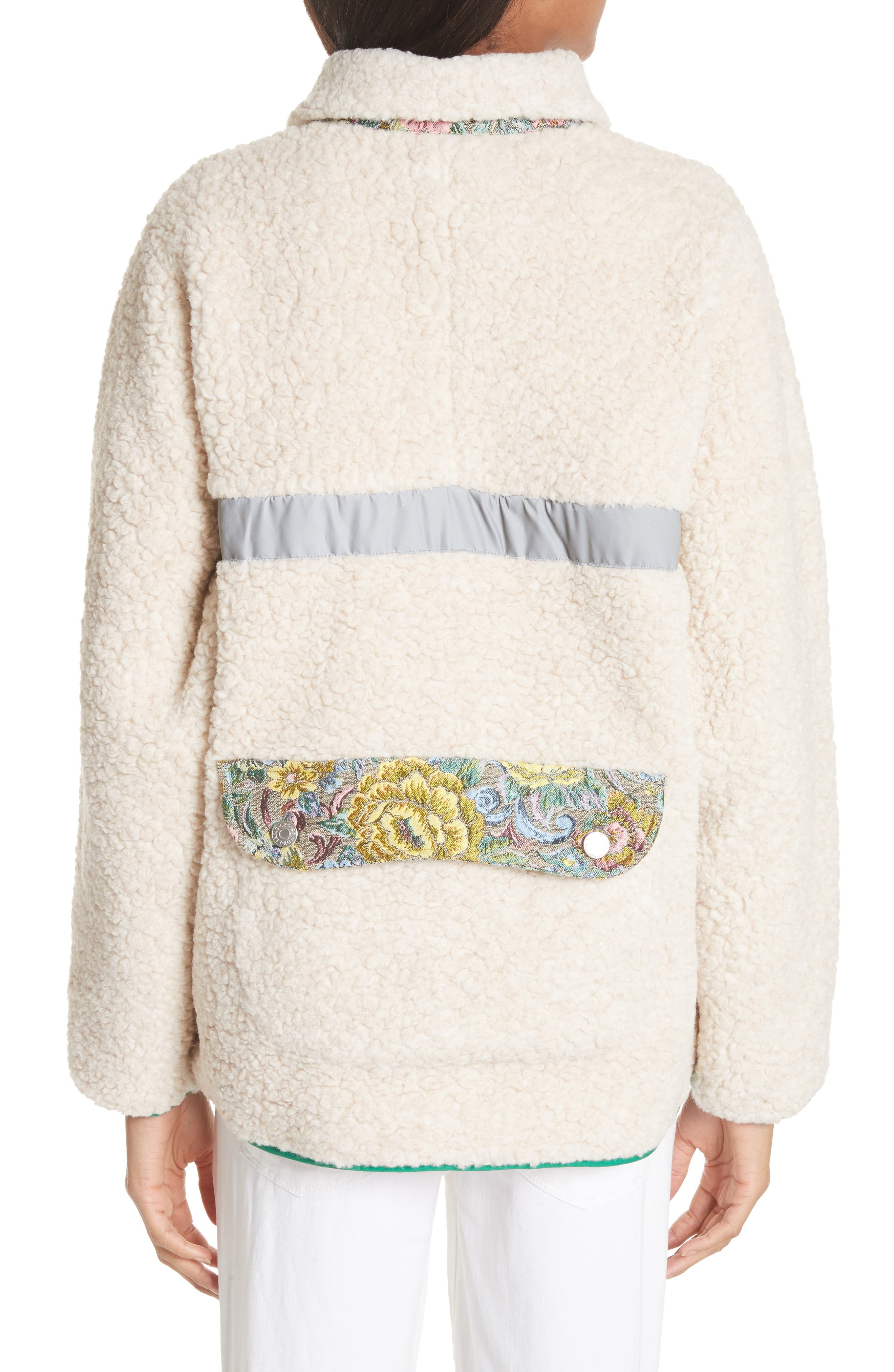 Bayside Floral Trim Fleece Jacket,                             Alternate thumbnail 2, color,                             Creamy