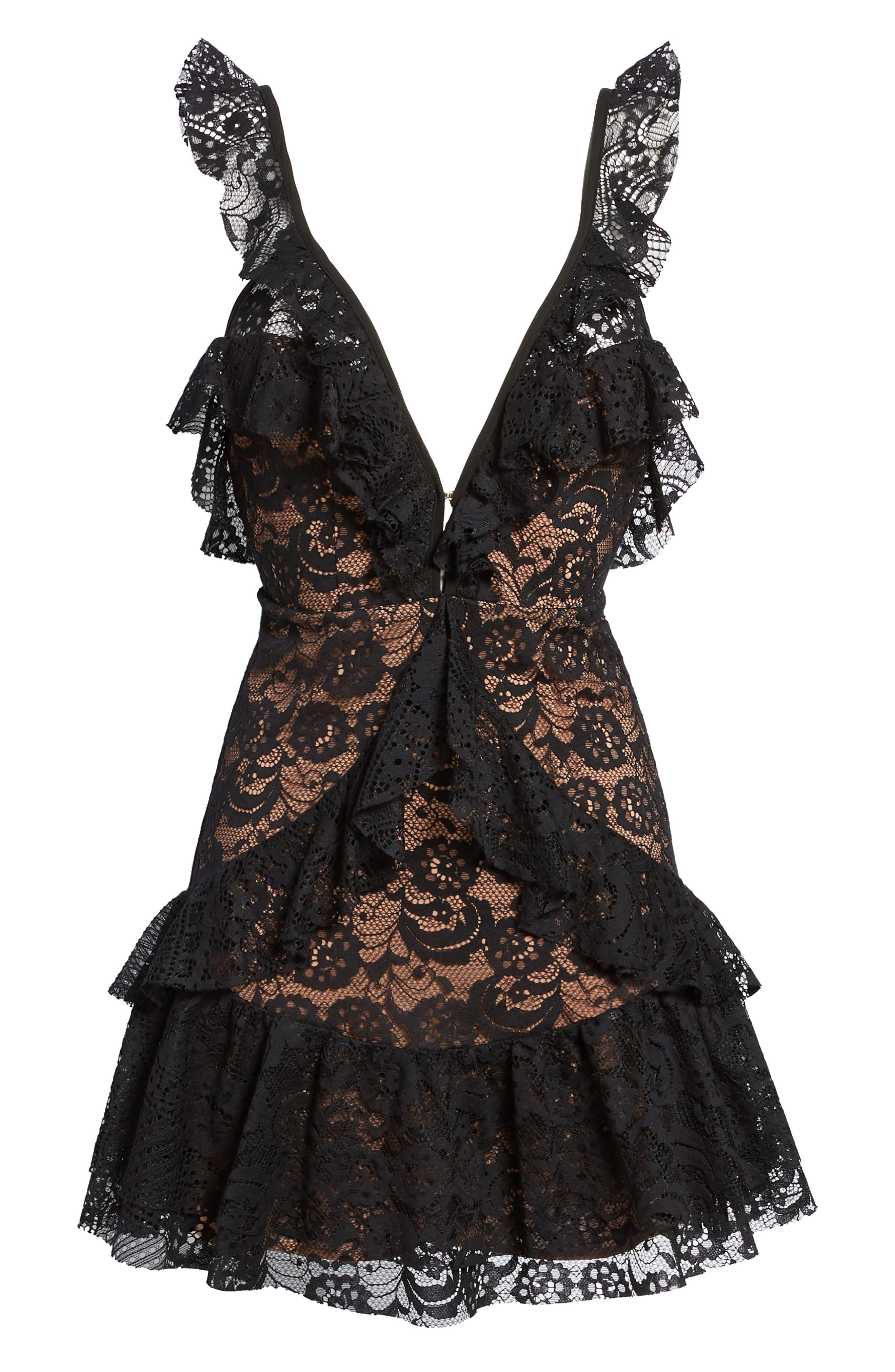 Tati Lace Minidress,                             Alternate thumbnail 6, color,                             Black