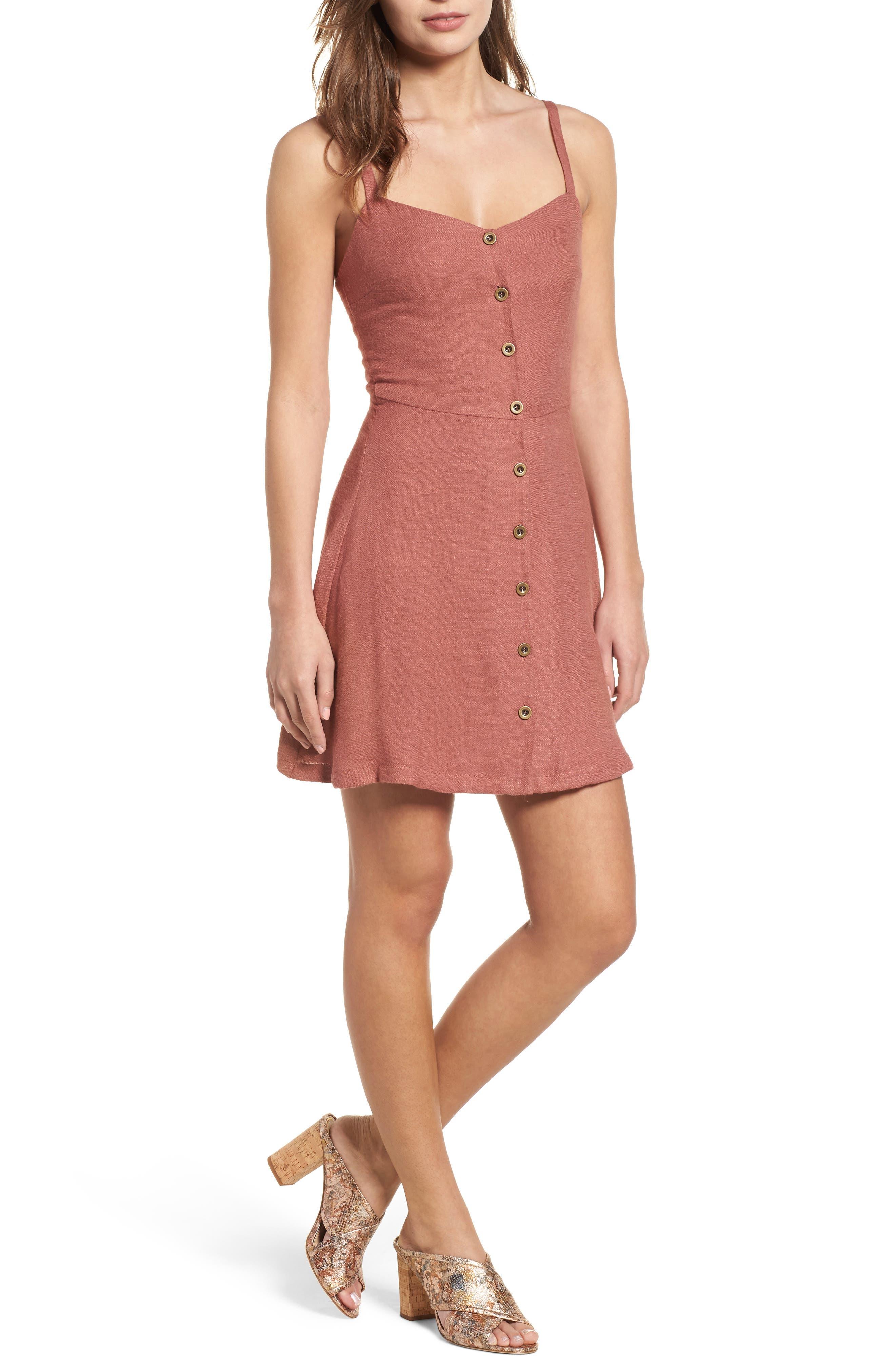 Button Front Dress,                         Main,                         color, Coral Cedar