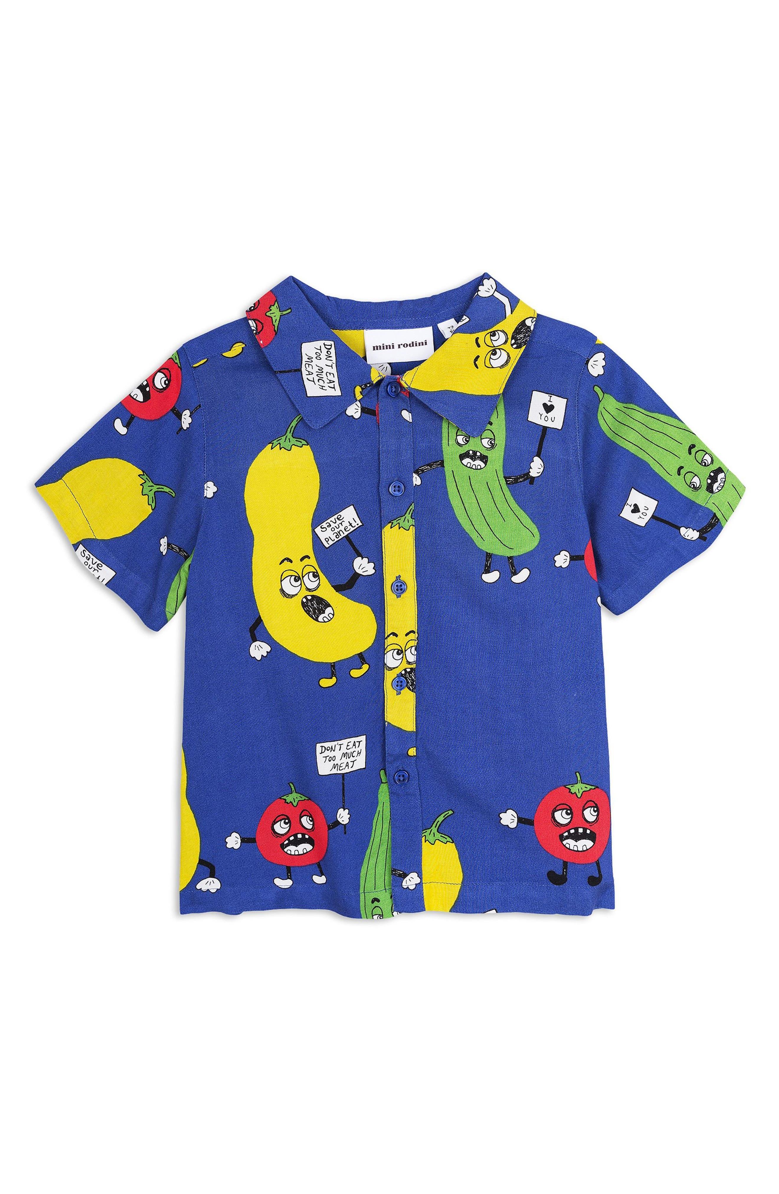Veggie Print Woven Shirt,                             Main thumbnail 1, color,                             Blue