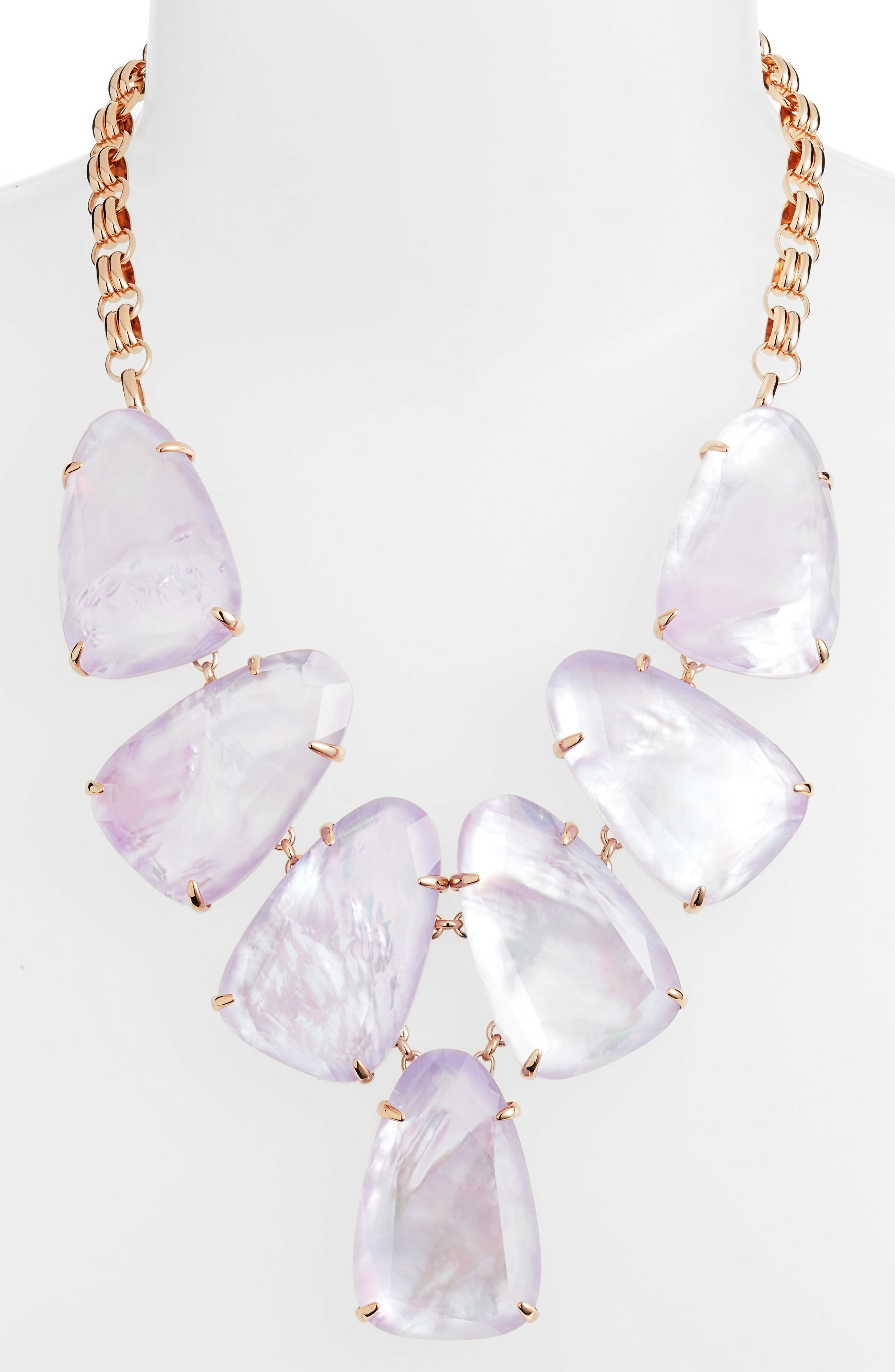 Harlow Necklace,                             Alternate thumbnail 2, color,                             Lilac Mop/ Rose Gold