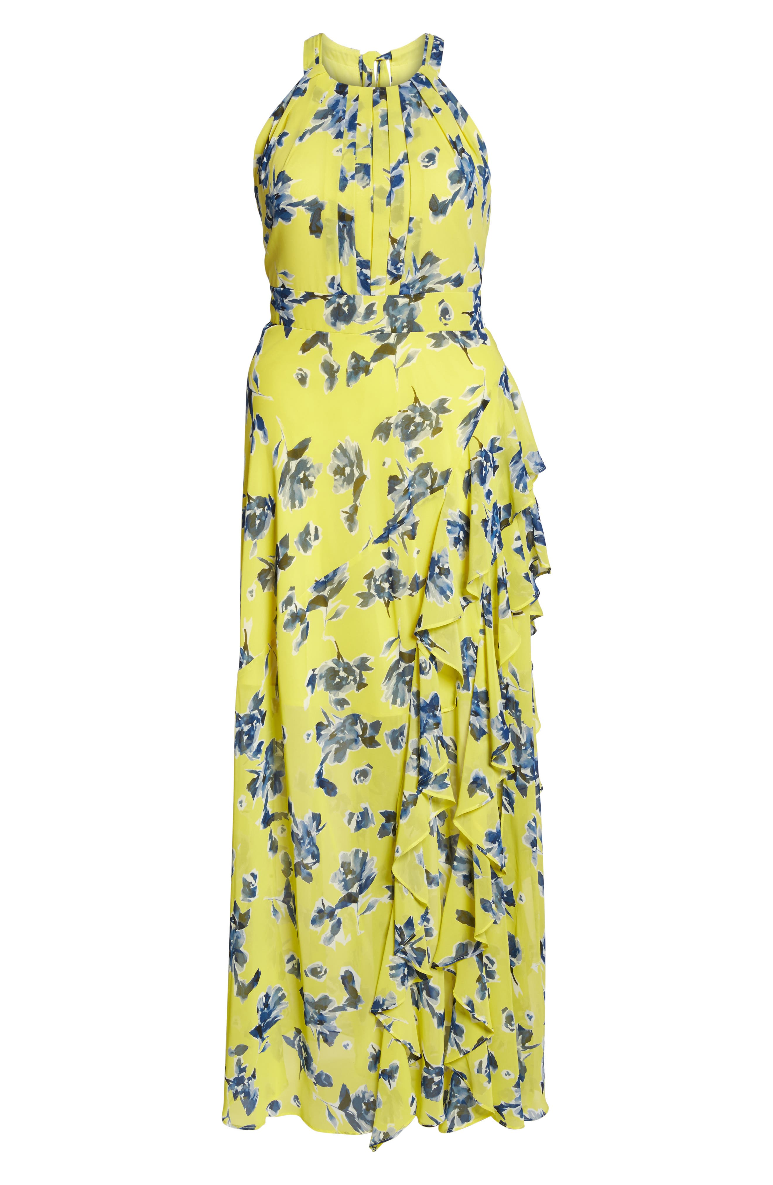 Floral Ruffle Halter Maxi Dress,                             Alternate thumbnail 6, color,                             Yellow