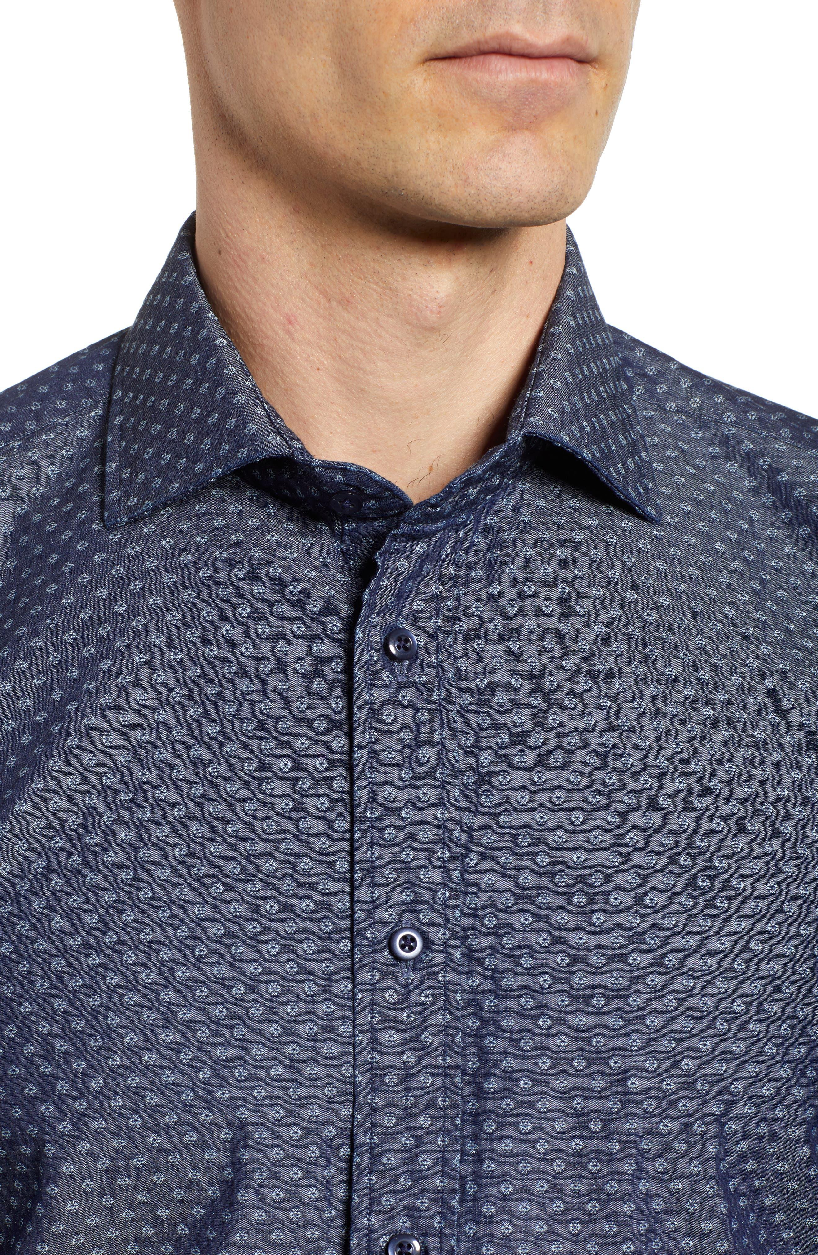 Print Sport Shirt,                             Alternate thumbnail 4, color,                             Dark Blue
