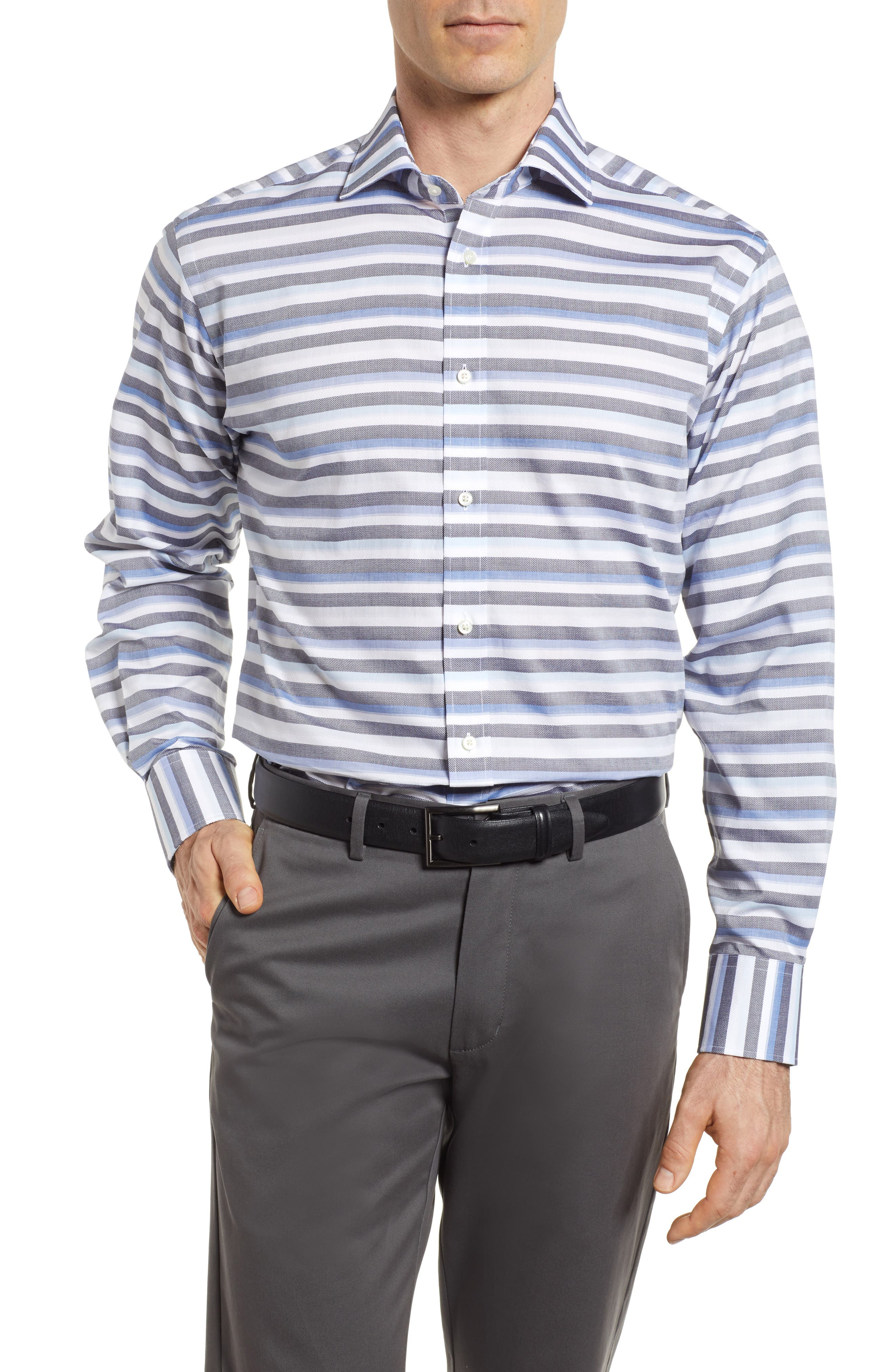 Stripe Sport Shirt,                             Main thumbnail 1, color,                             Blue
