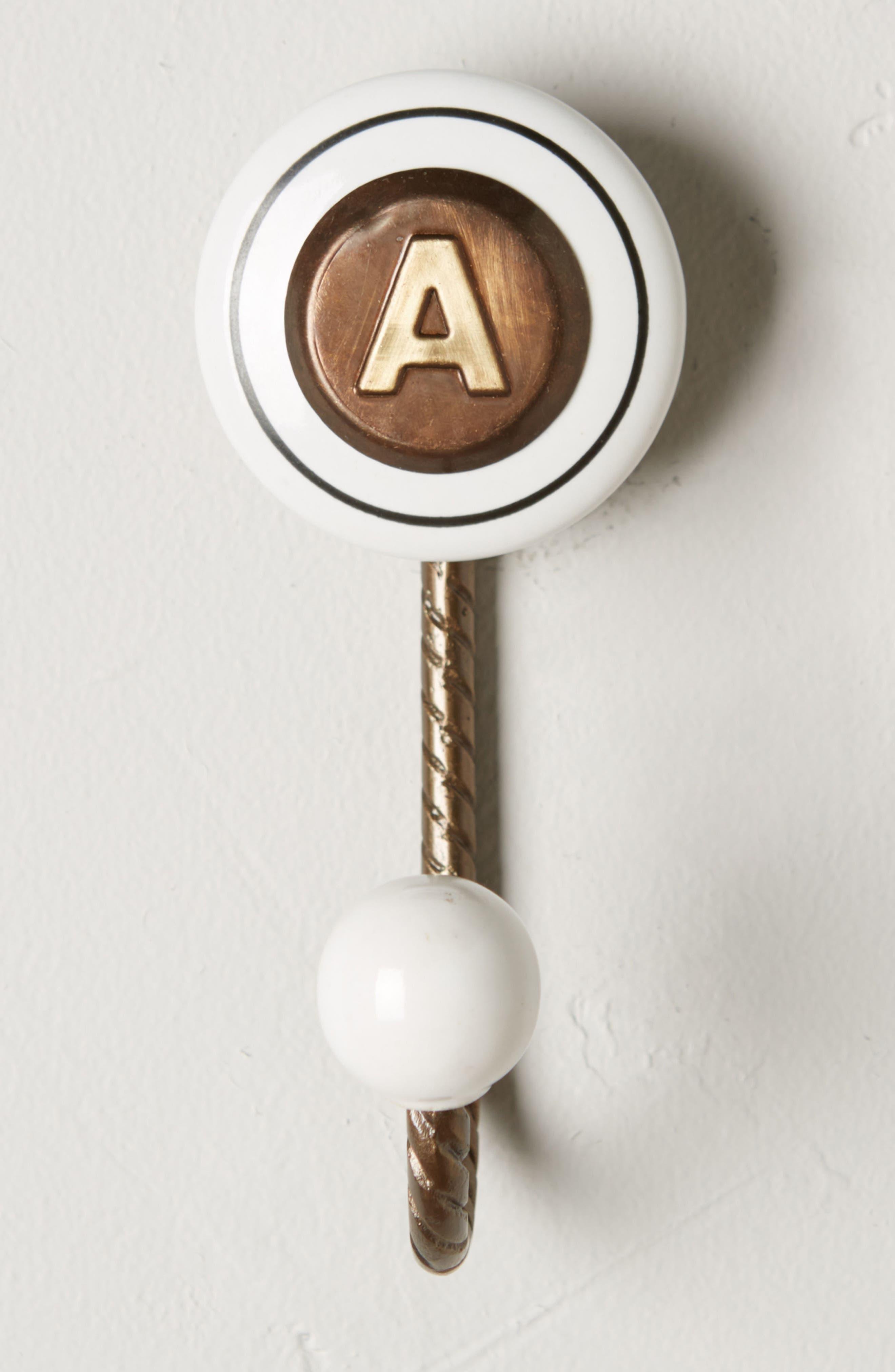 Cachet Monogram Towel Hook,                         Main,                         color, Brown - A