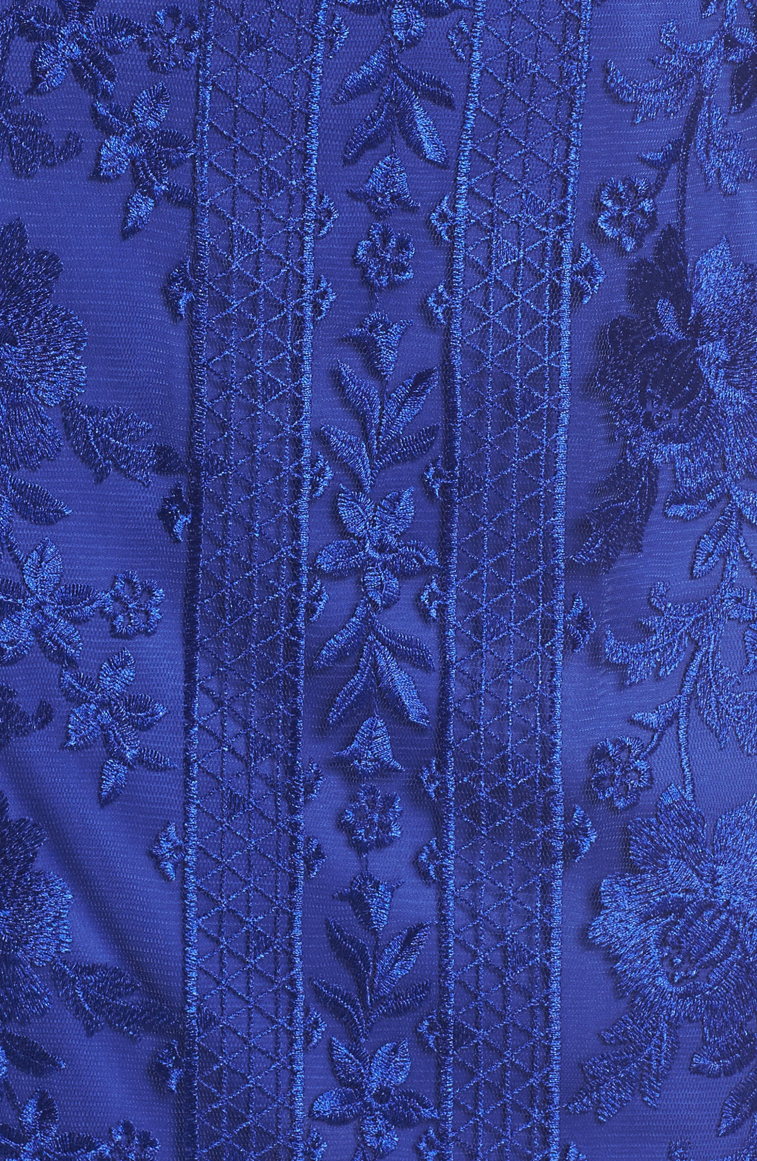 Kaisra Embroidered Lace Gown,                             Alternate thumbnail 5, color,                             Indigo