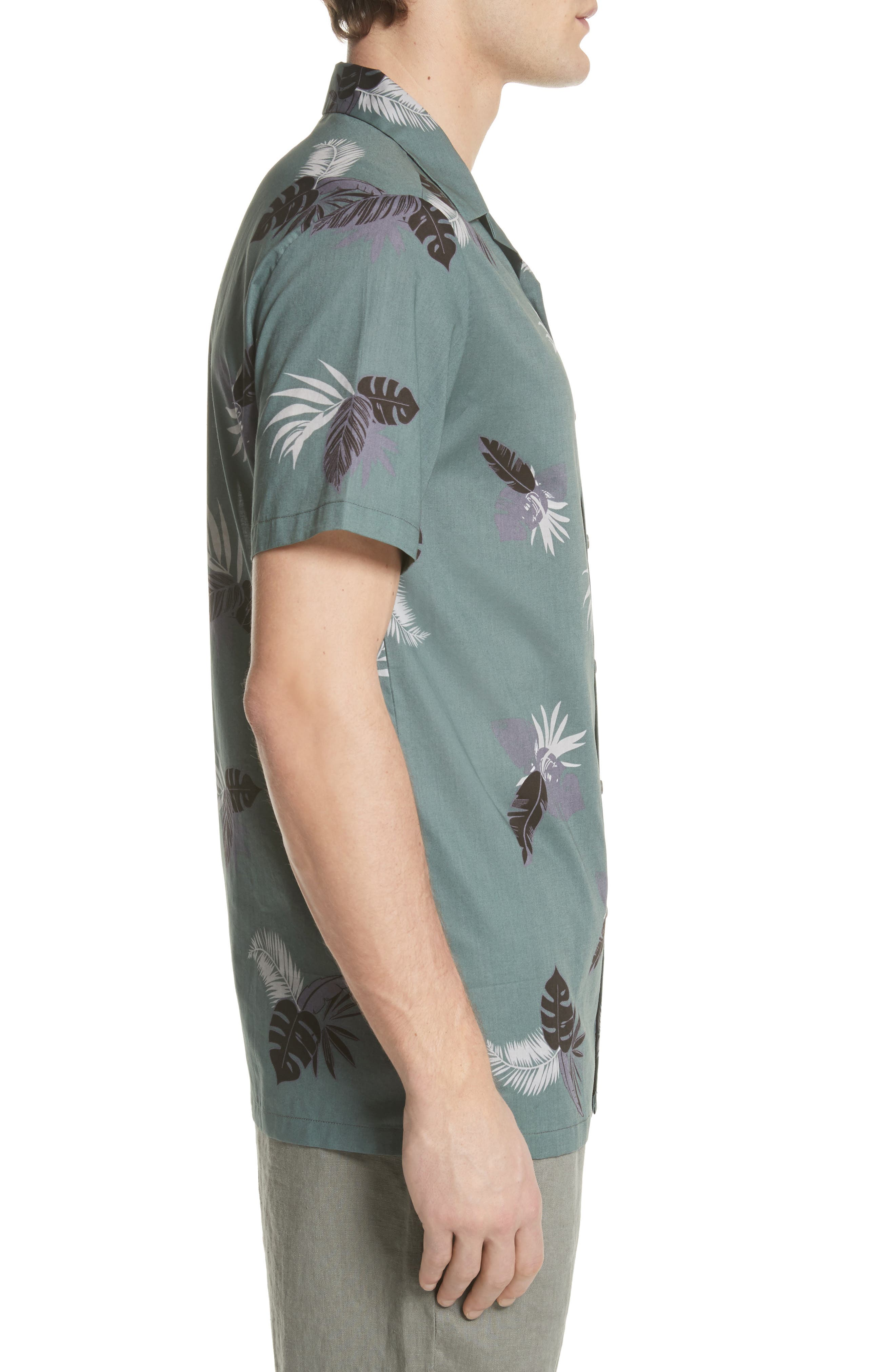 Linear Palm Print Vacation Shirt,                             Alternate thumbnail 4, color,                             Deep Sage Multi