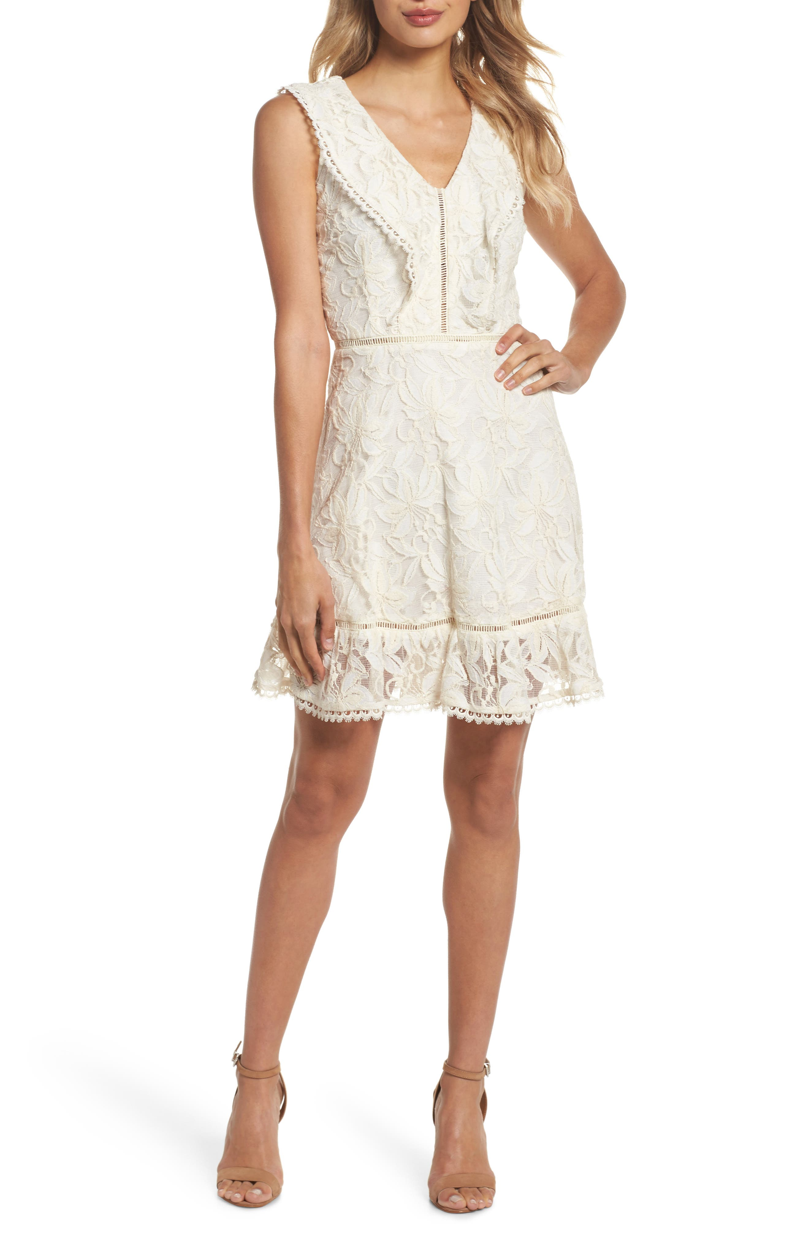 Rease Ruffle Lace Dress,                         Main,                         color, Antique White