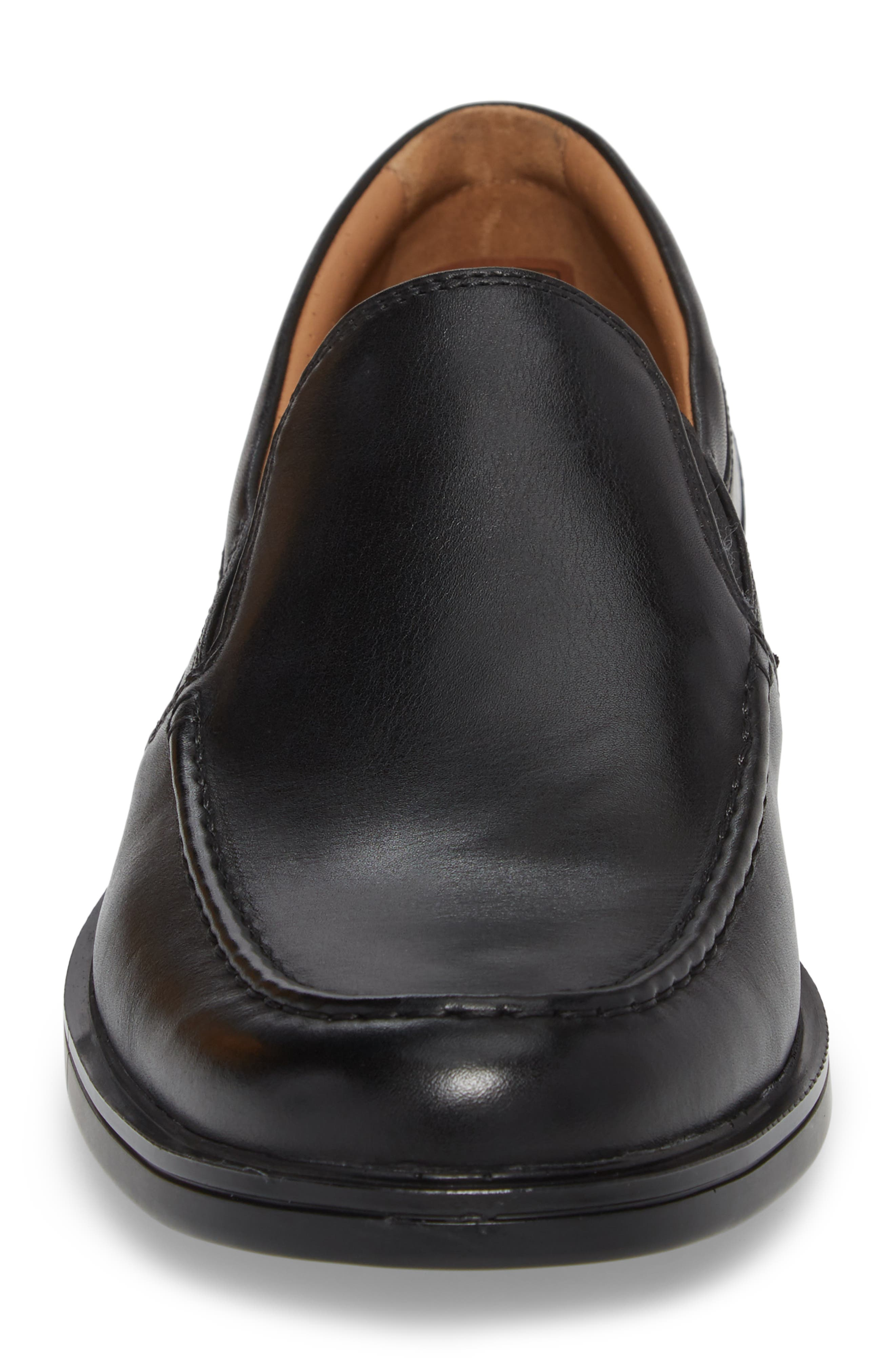 Unaldric Apron Toe Loafer,                             Alternate thumbnail 4, color,                             Black Leather