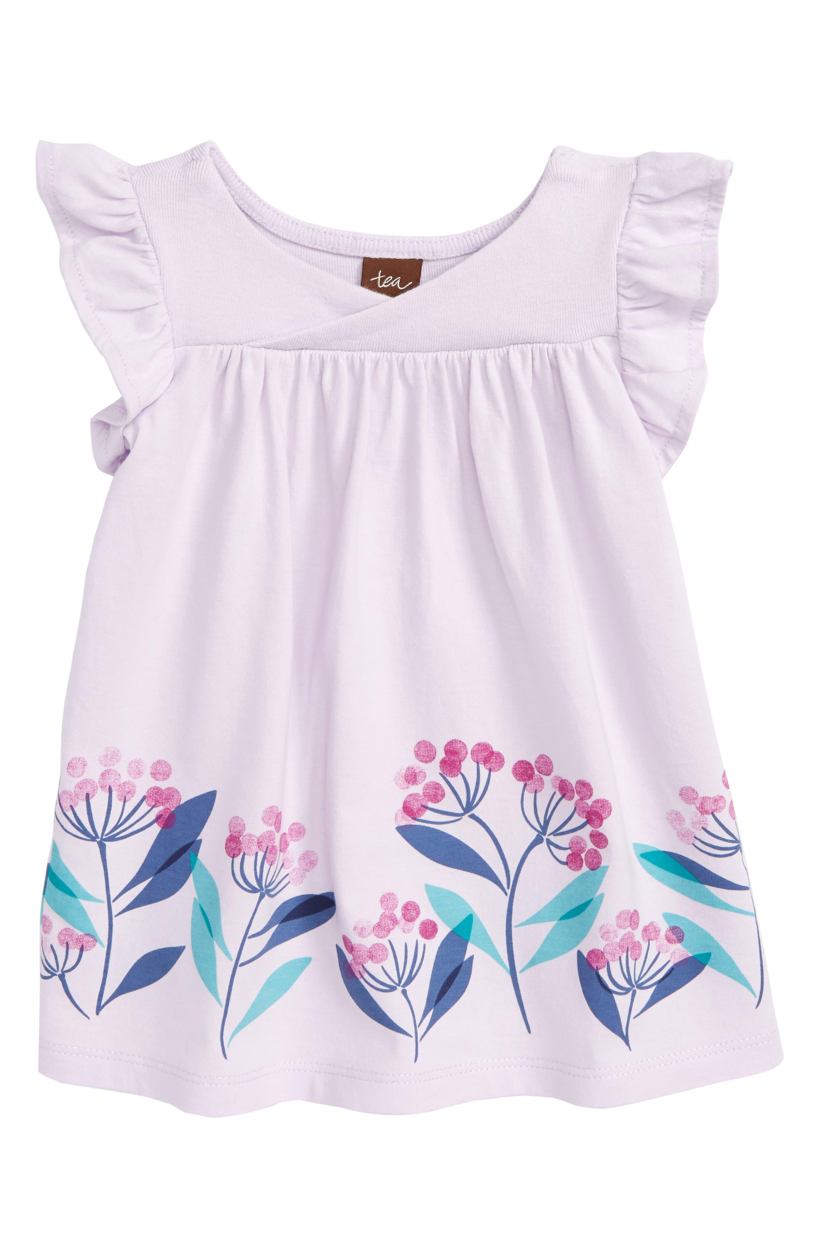 Flower Print Wrap Neck Knit Dress,                             Main thumbnail 1, color,                             Wild Lavender