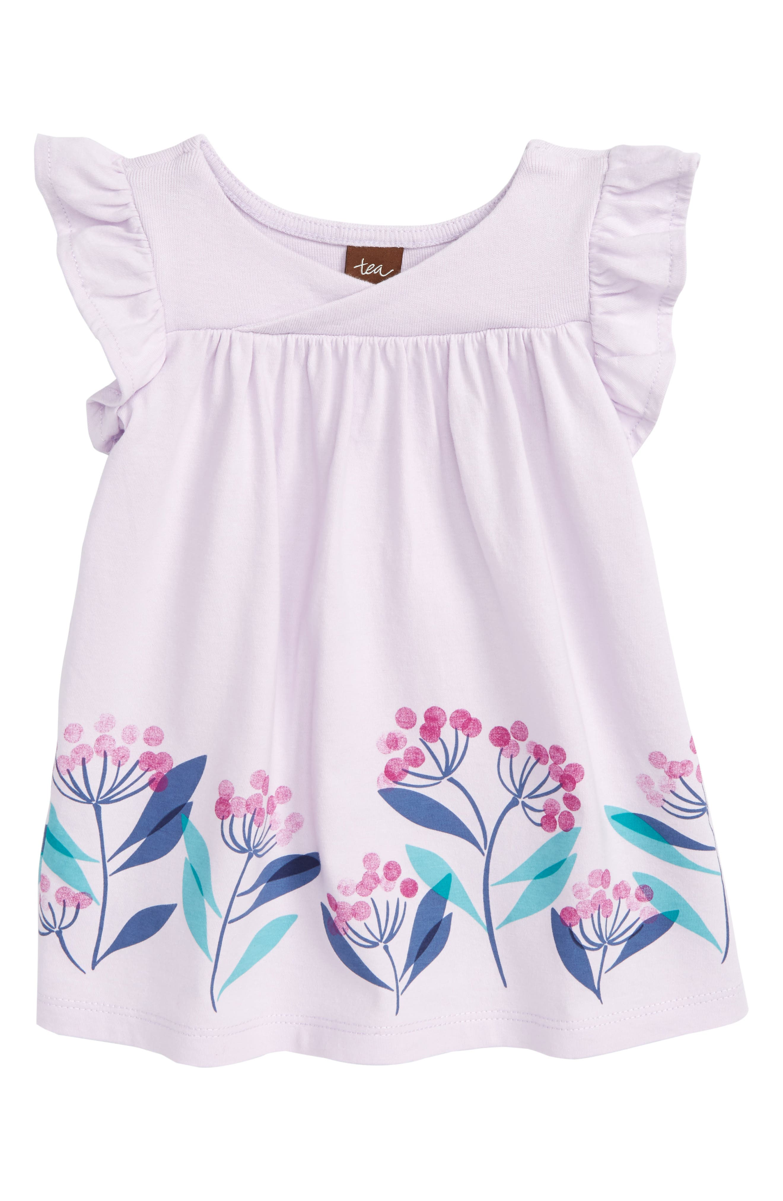 Tea Collection Flower Print Wrap Neck Knit Dress (Baby Girls)