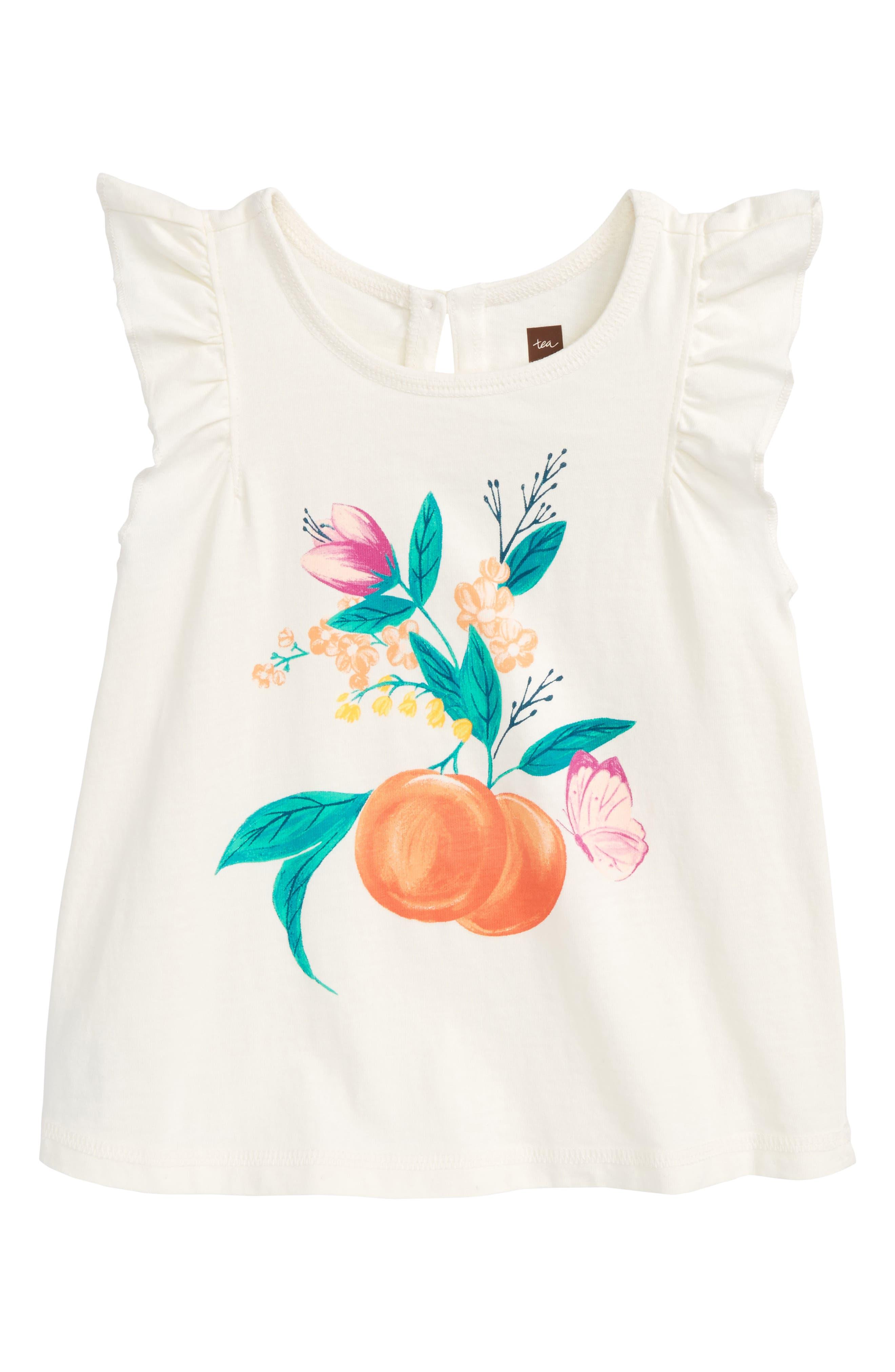 Georgia Peach Flower Graphic Tee,                             Main thumbnail 1, color,                             Chalk