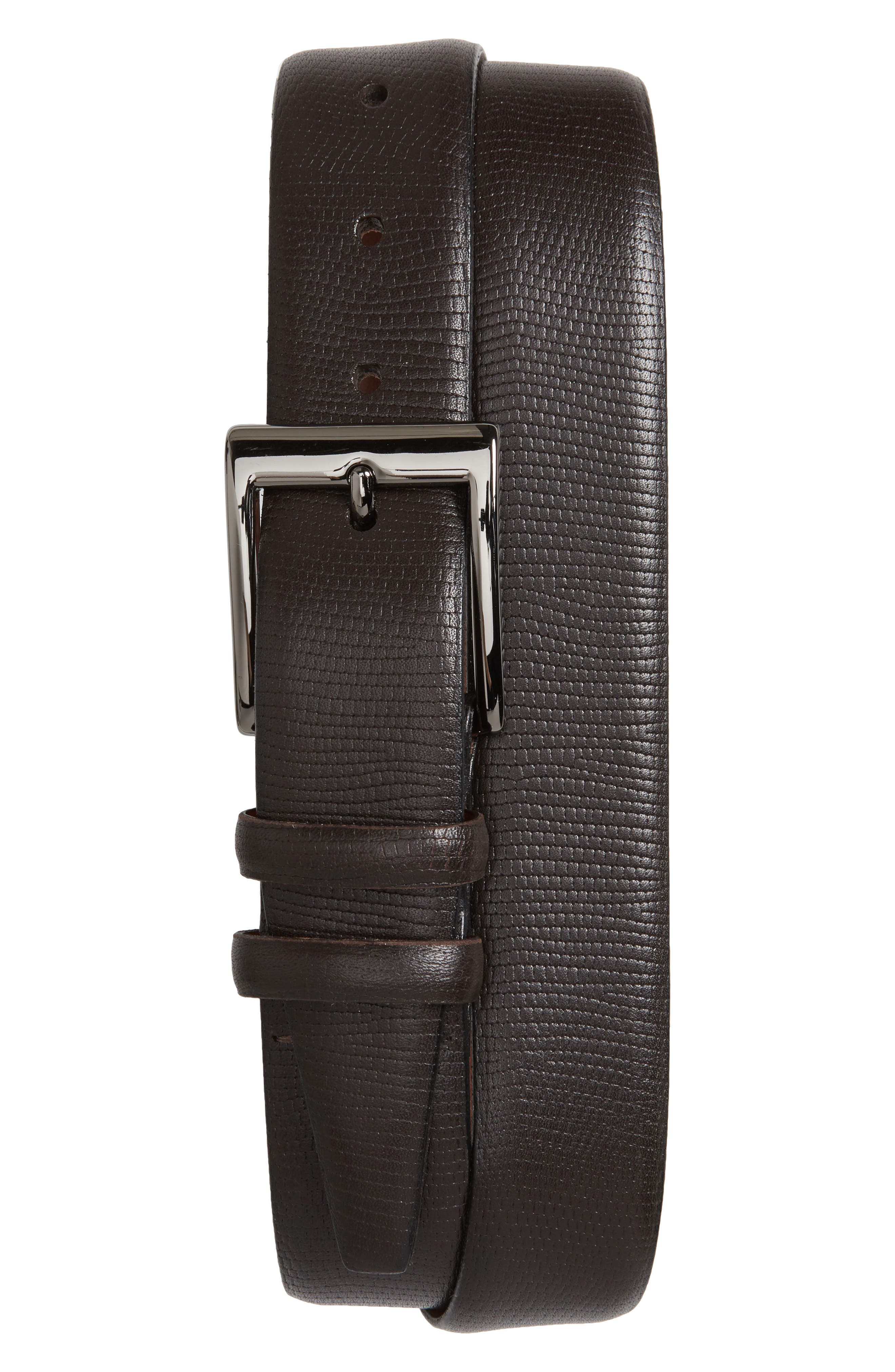 Lizard Embossed Leather Belt,                             Main thumbnail 1, color,                             Brown