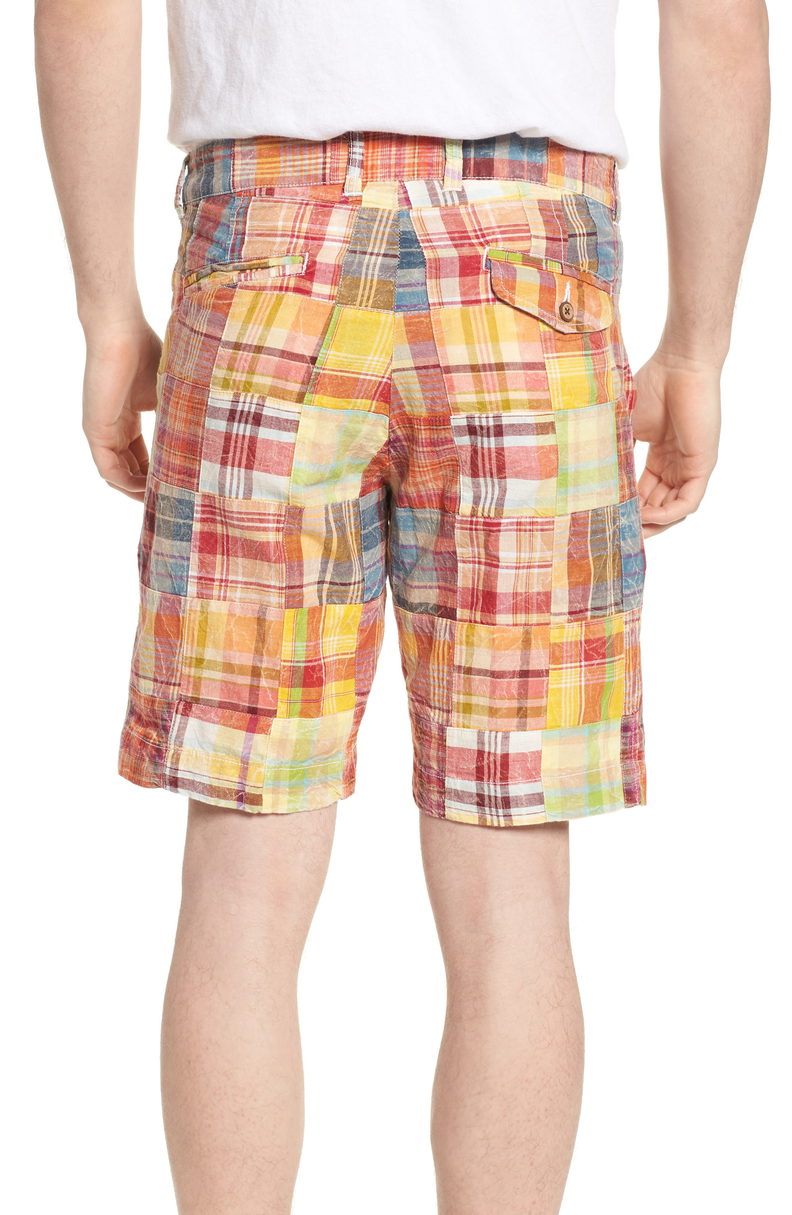 Acid Wash Plaid Patchwork Shorts,                             Alternate thumbnail 2, color,                             Orange