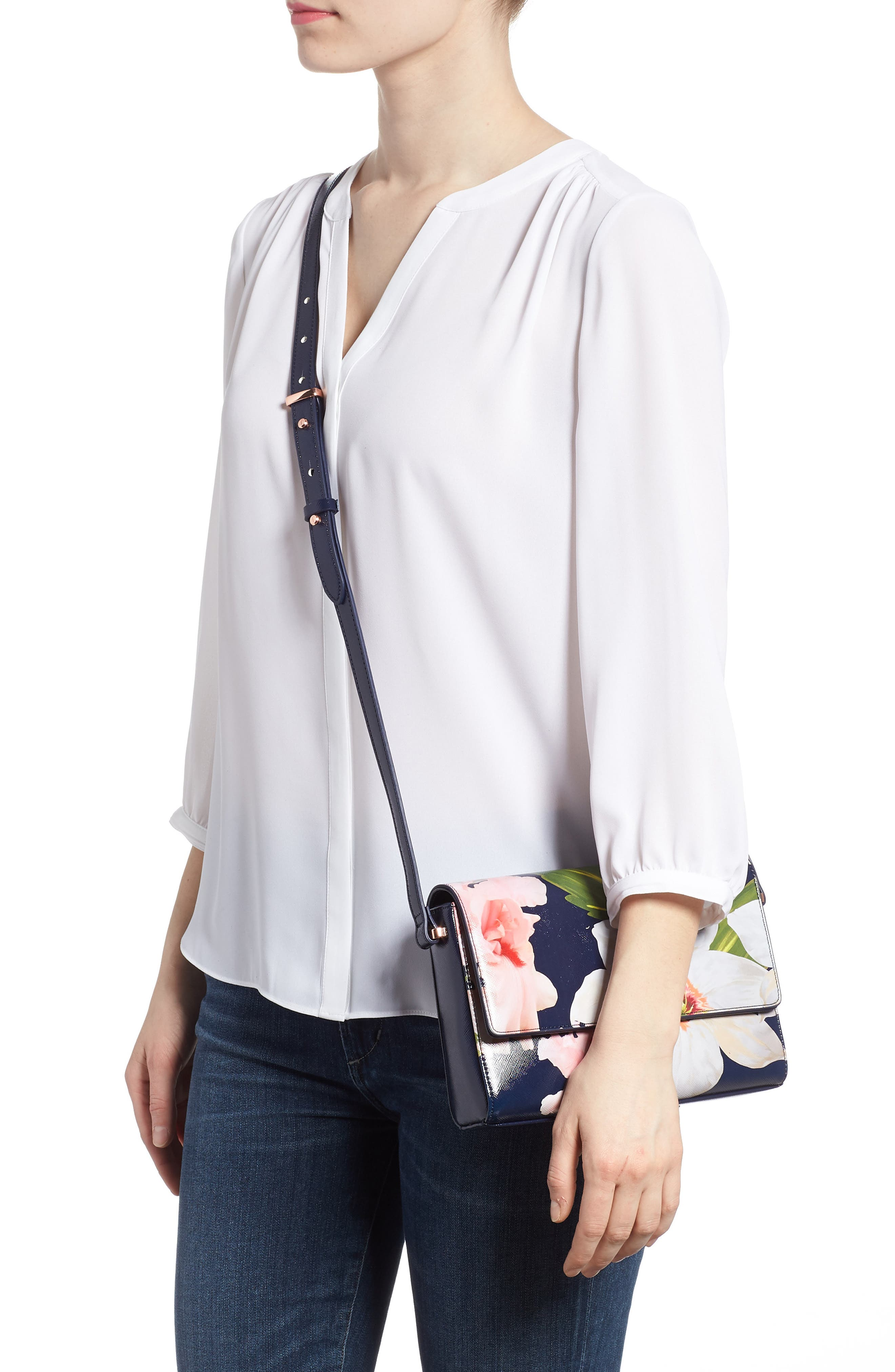 Prim Chatsworth Bloom Faux Leather Crossbody Bag,                             Alternate thumbnail 2, color,                             Navy