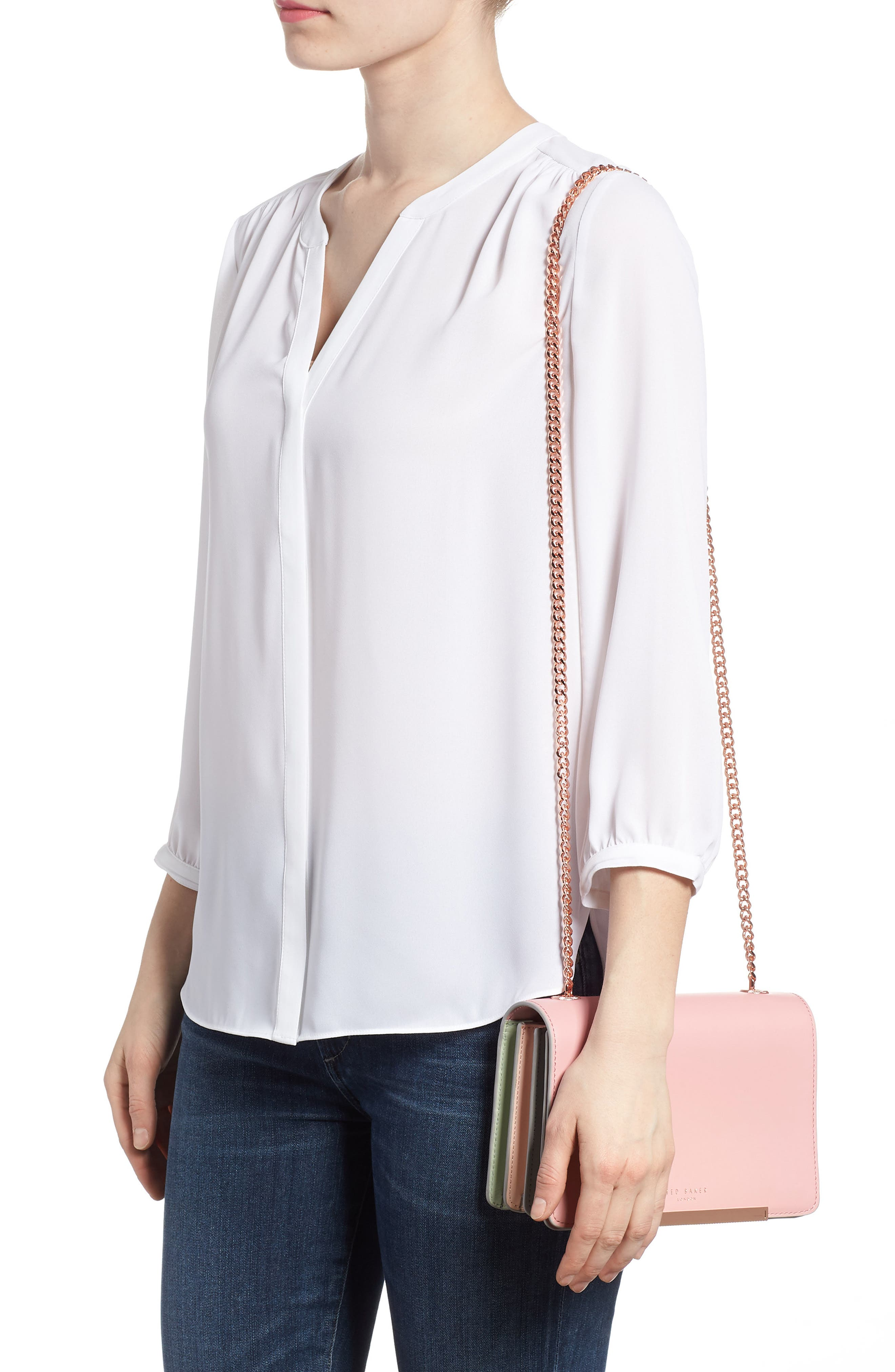 Earie Leather Crossbody Bag,                             Alternate thumbnail 2, color,                             Dusky Pink