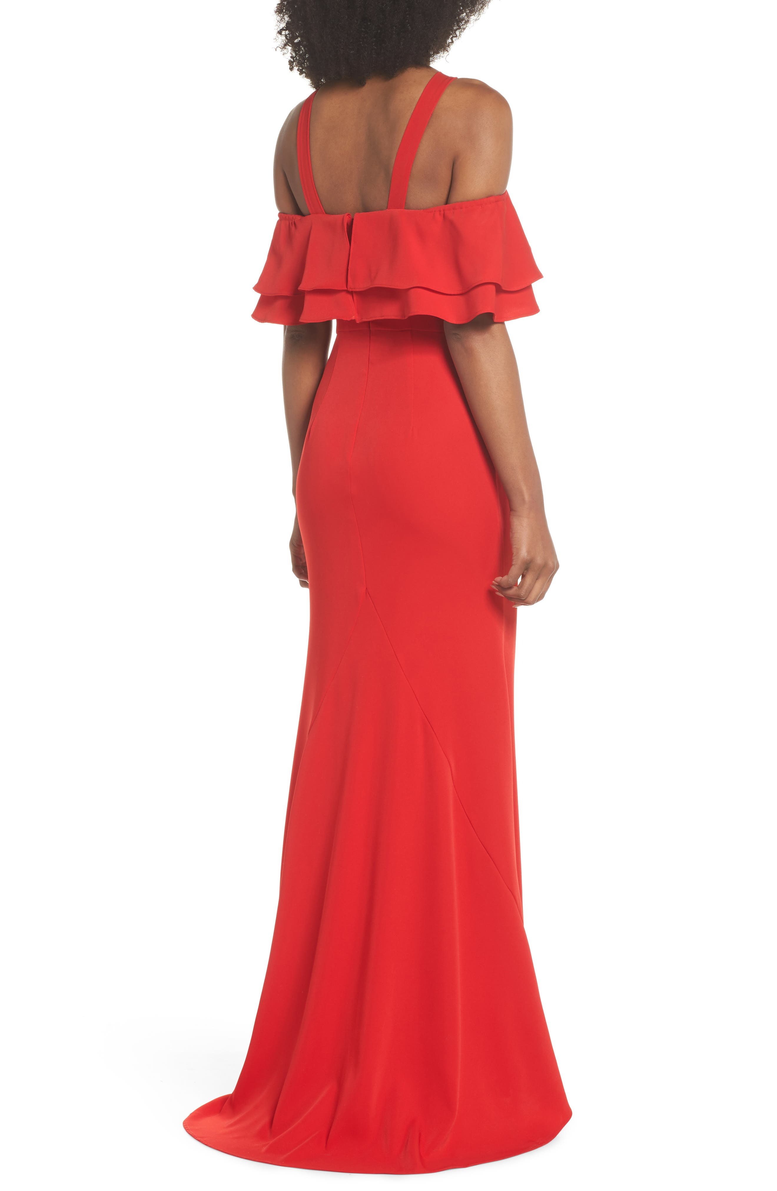 Dianne Ruffle Top Halter Gown,                             Alternate thumbnail 2, color,                             Red