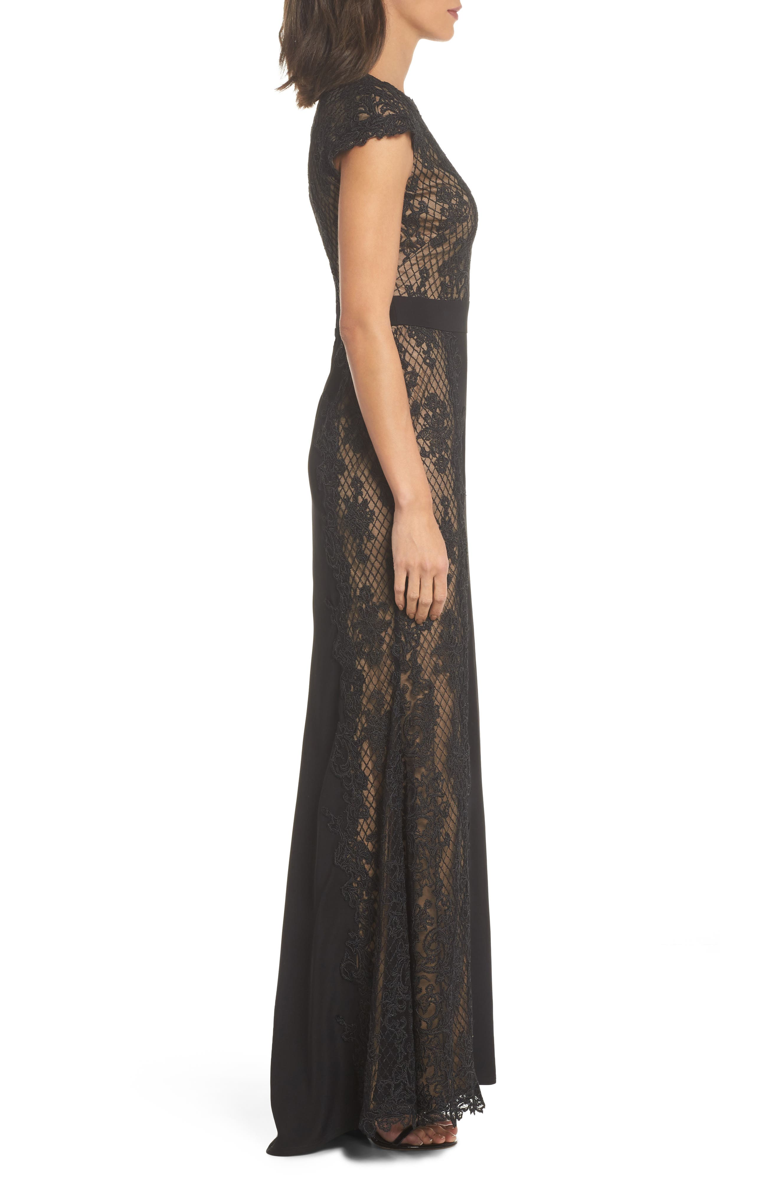 Lace Gown,                             Alternate thumbnail 3, color,                             Black/ Nude